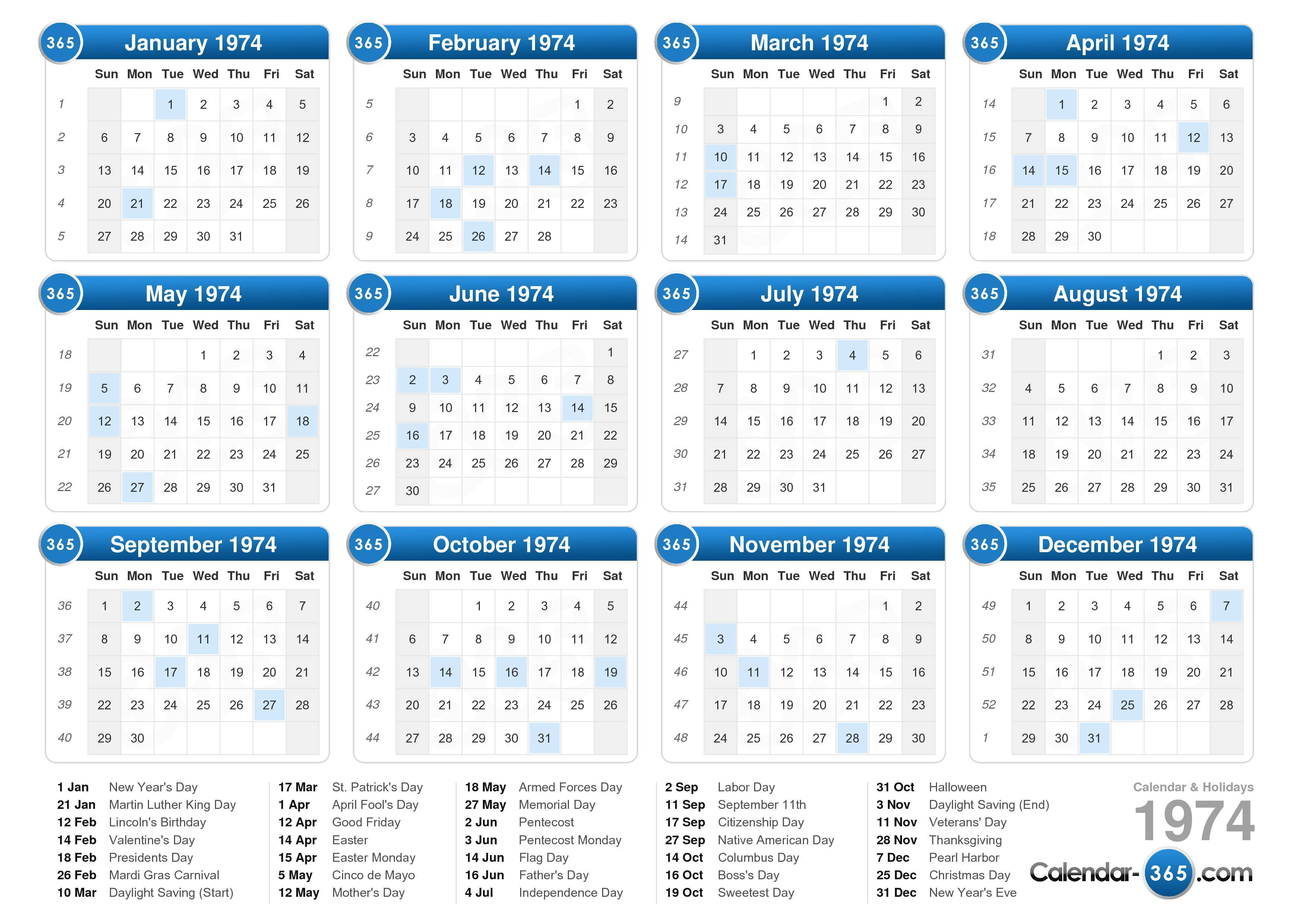... calendar with holidays landscape format 1 page 1974 calendar 325 3 407