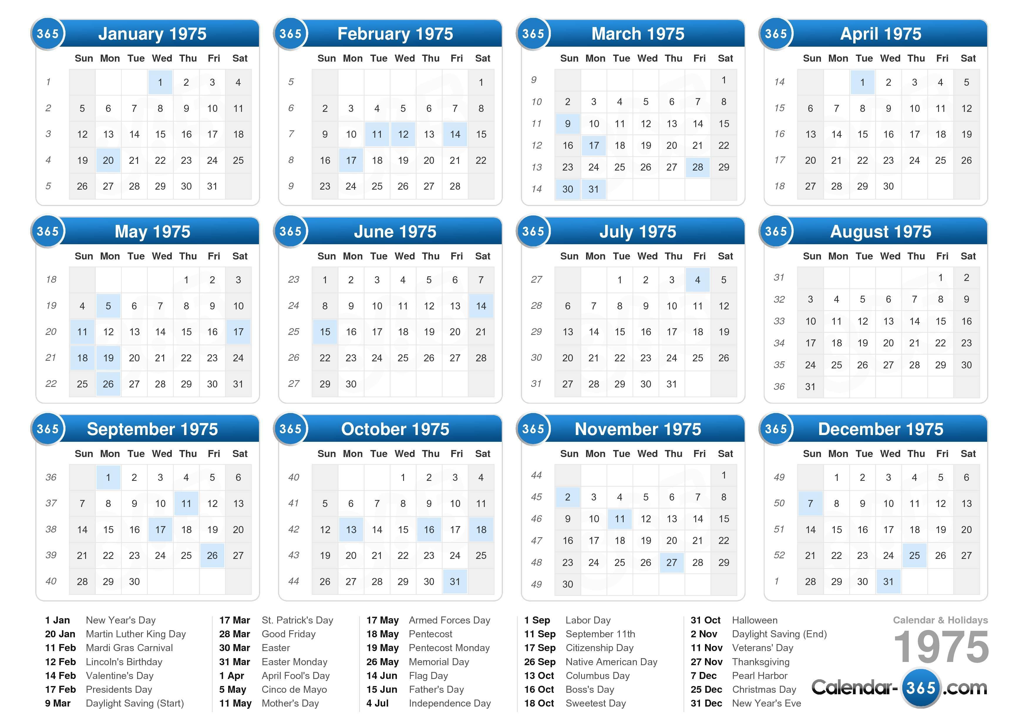 ... calendar with holidays landscape format 1 page 1975 calendar 329 8 059