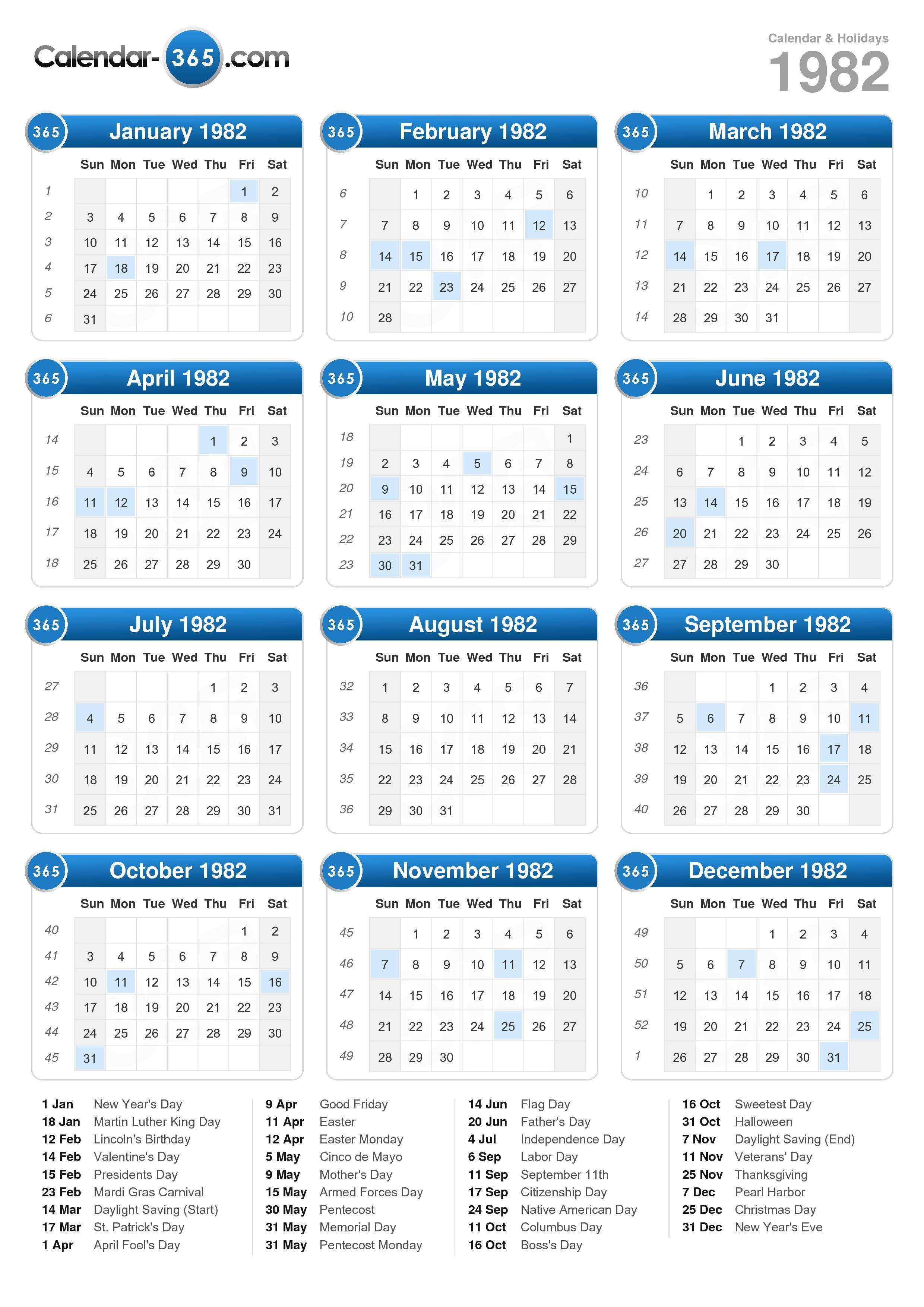 Download the 1982 Calendar with holidays . (Portrait format - 1 Page)