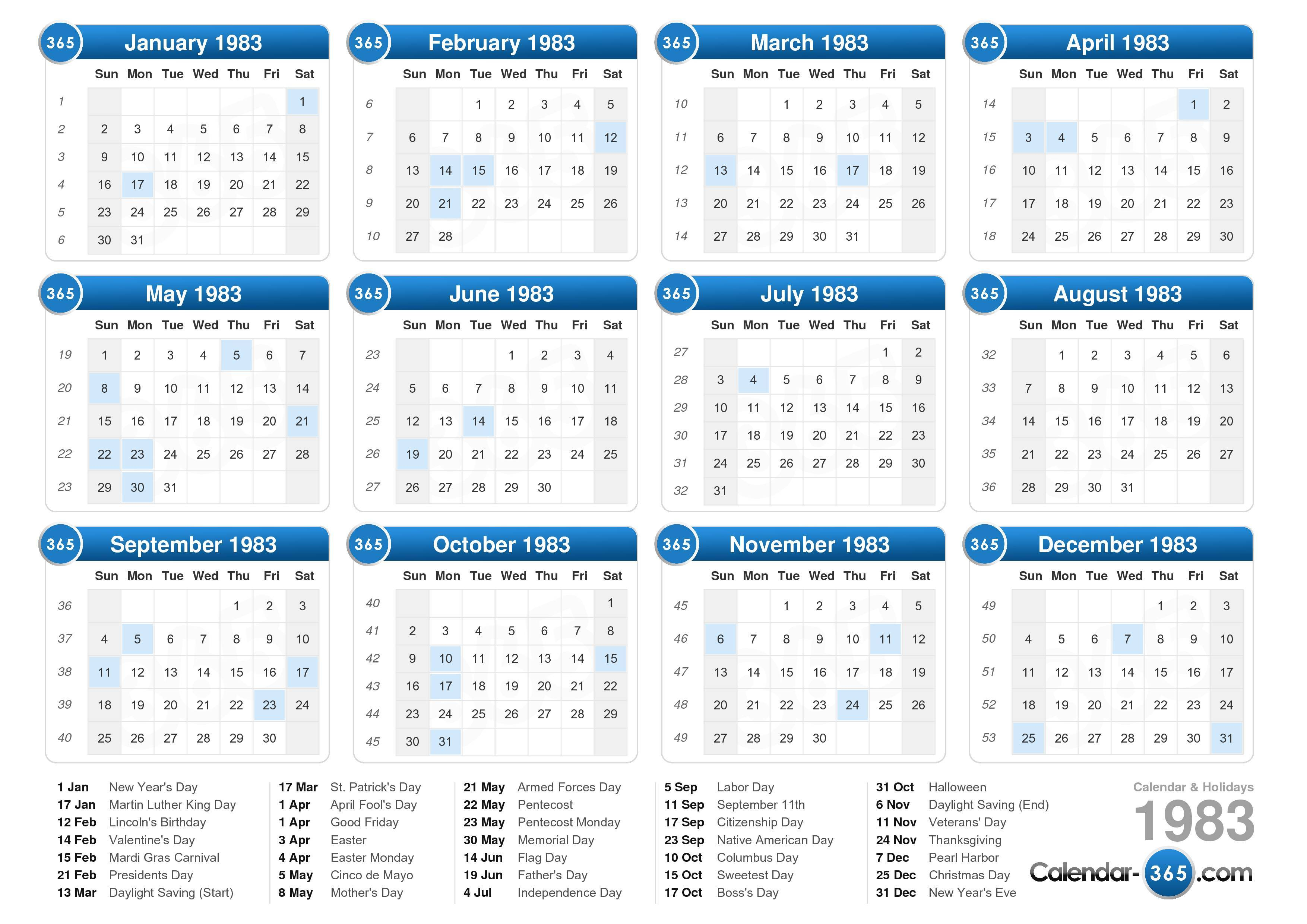 ... calendar with holidays landscape format 1 page 1983 calendar 395 16
