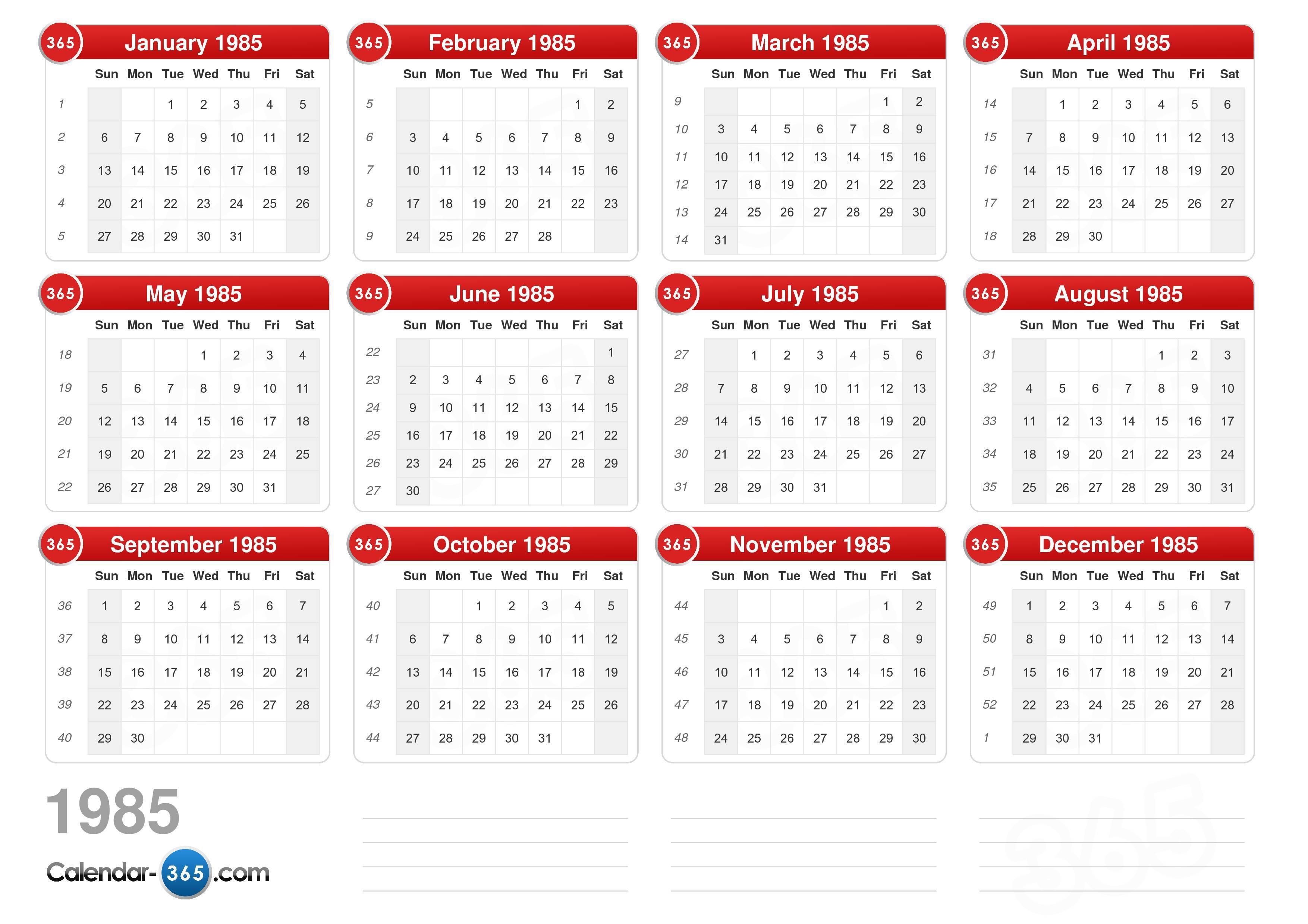 1985 Calendar