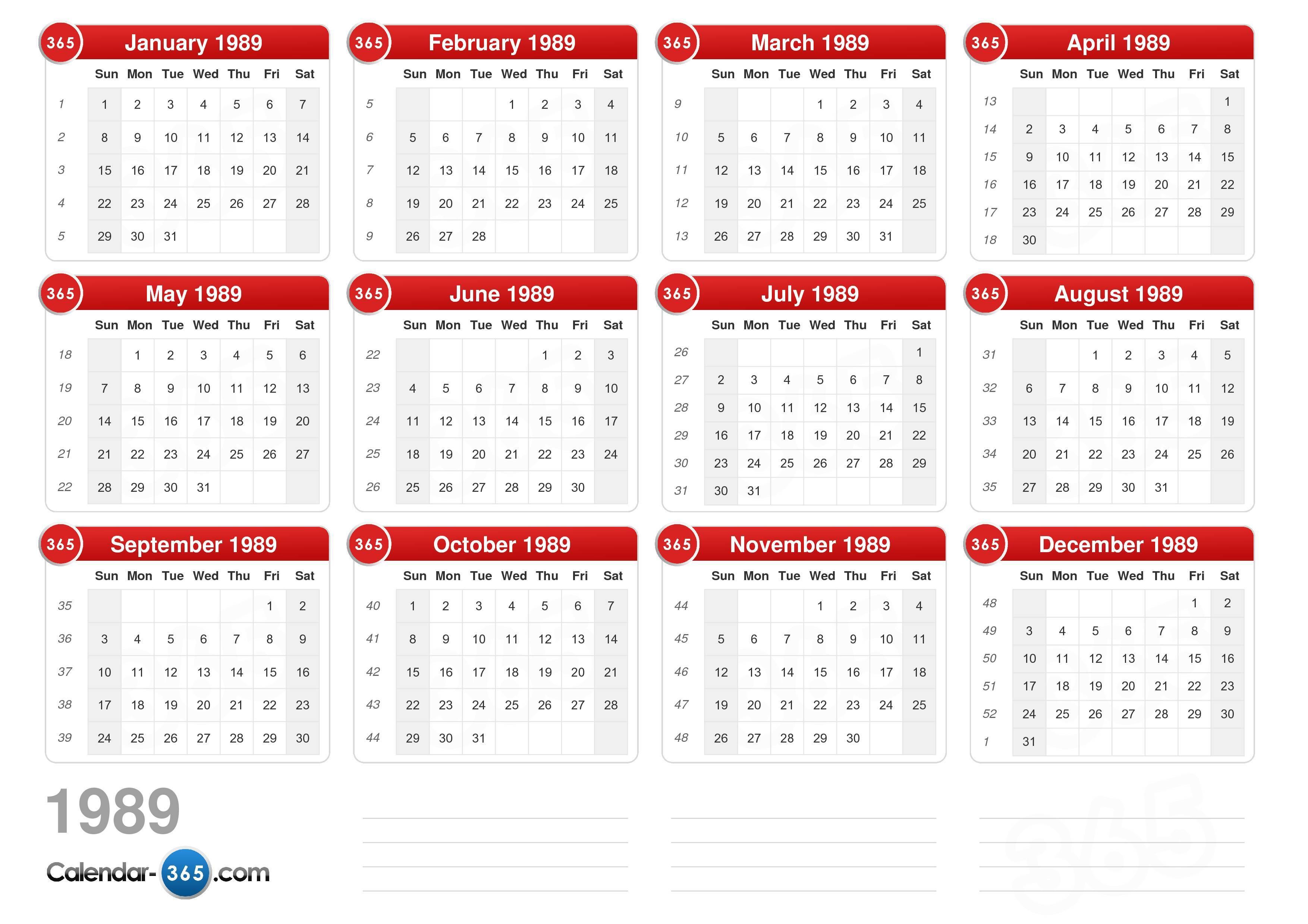 ... calendar without holidays landscape format 1 page 1989 calendar 189