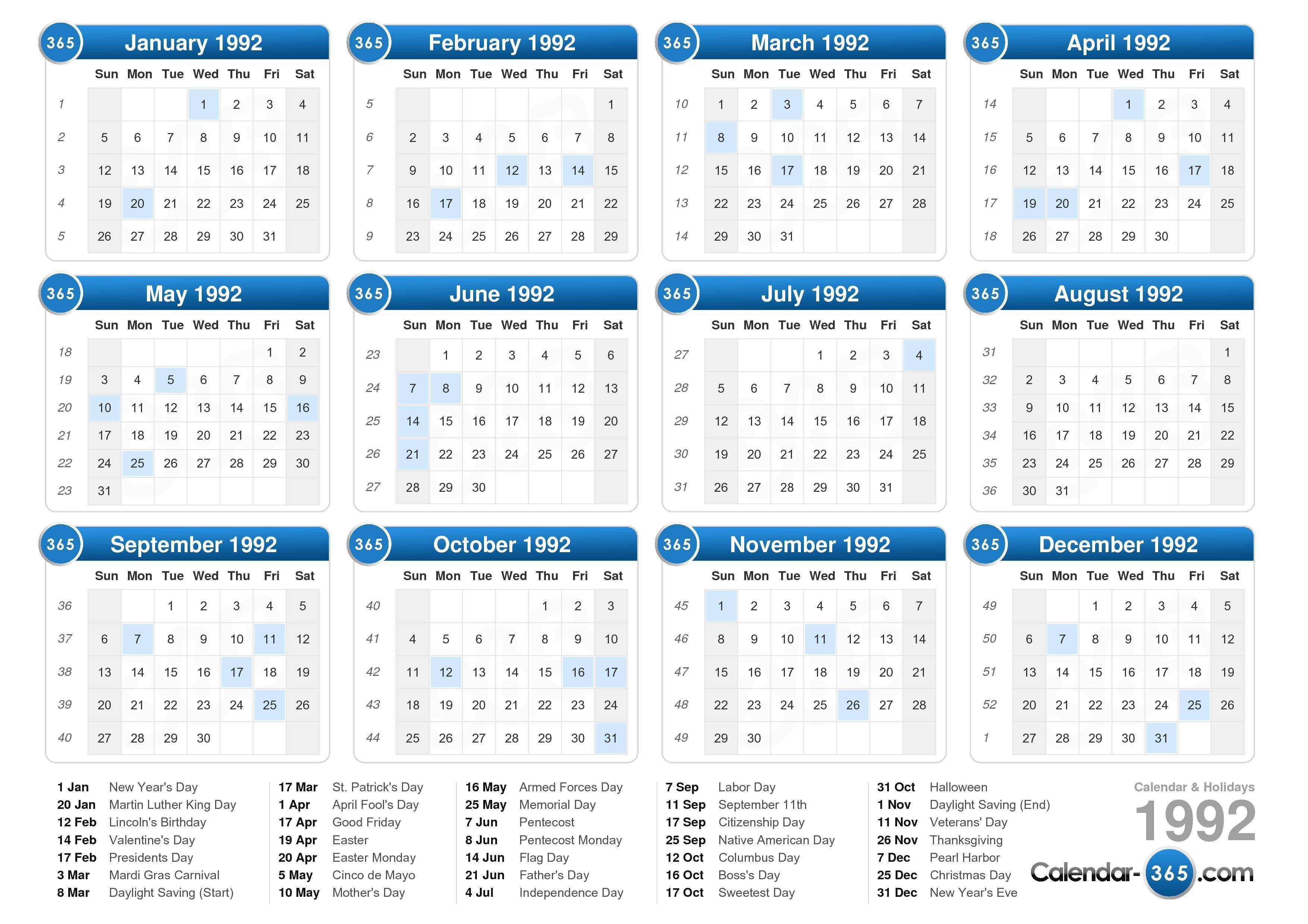1992 calendar