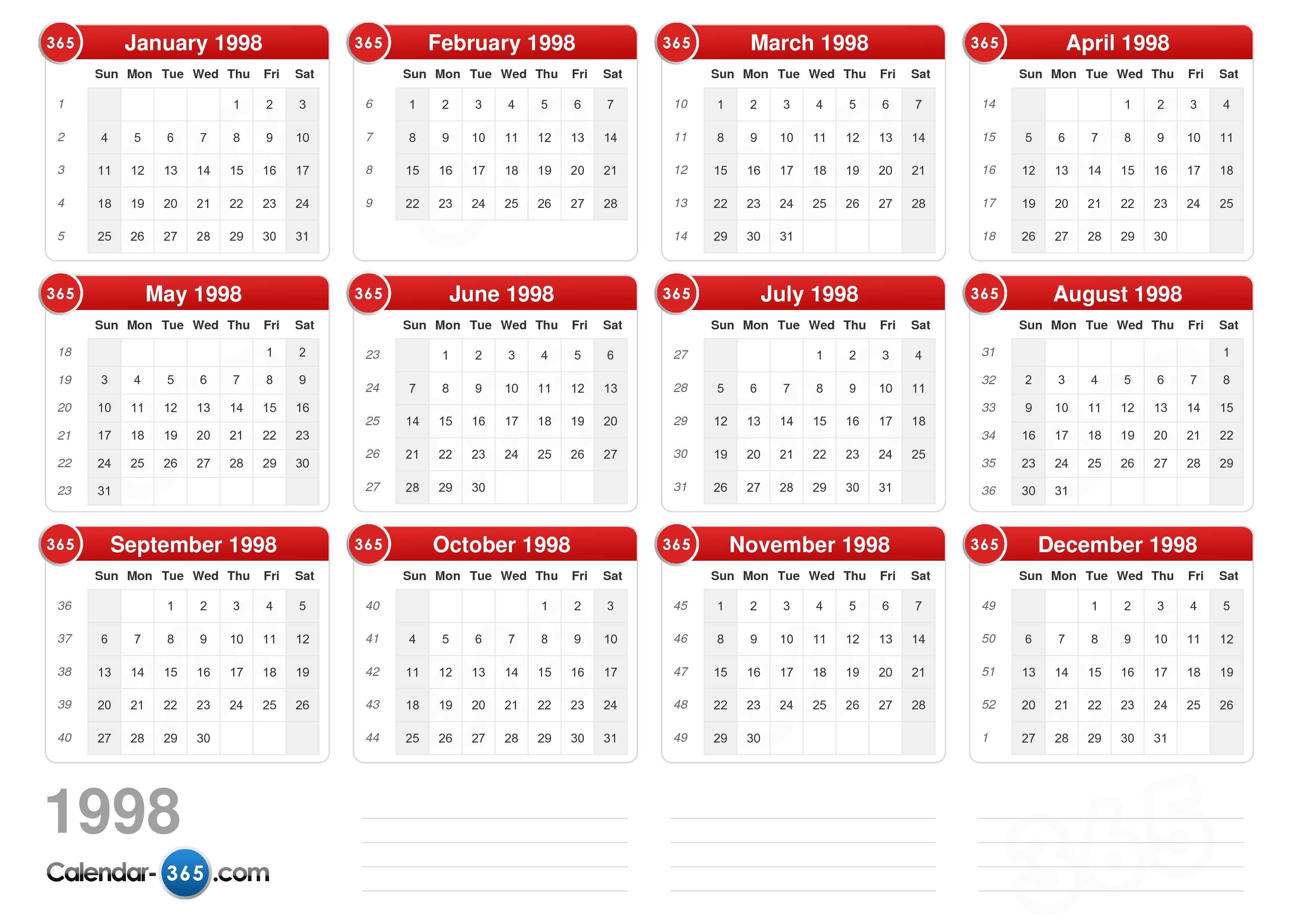 1998 Calendar