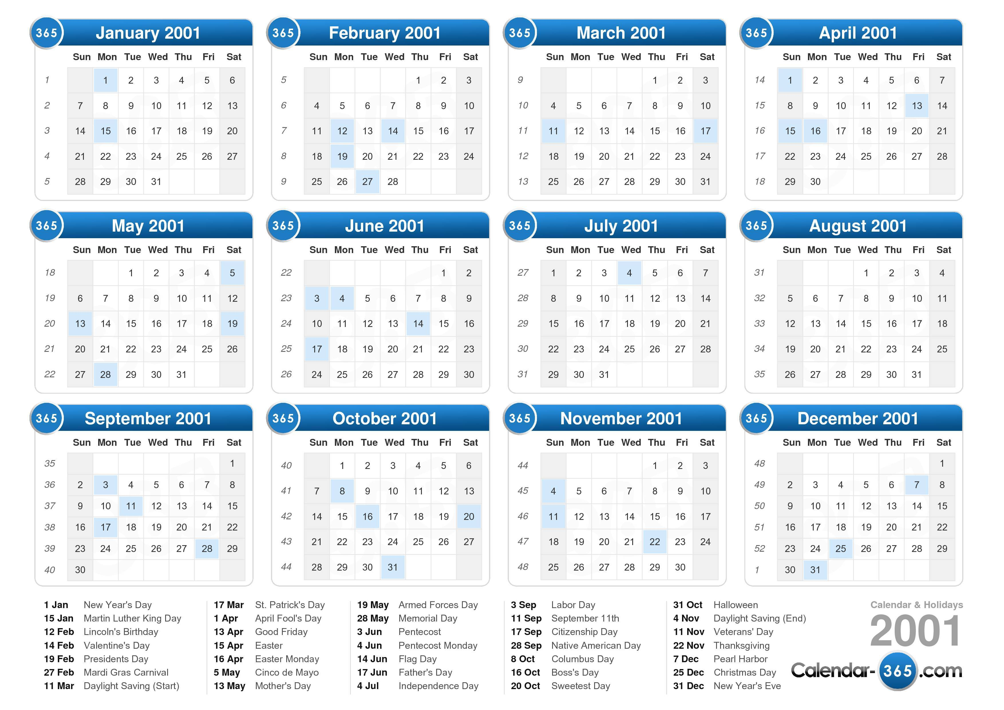 ... calendar with holidays landscape format 1 page 2001 calendar 861 43