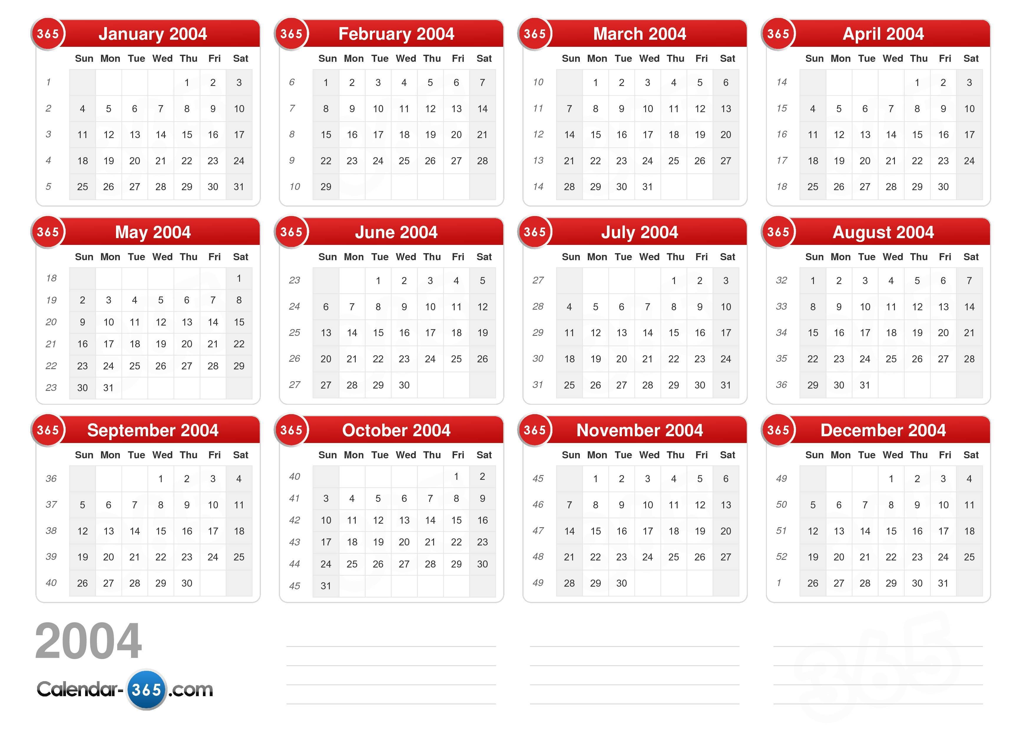 2004 Calendar