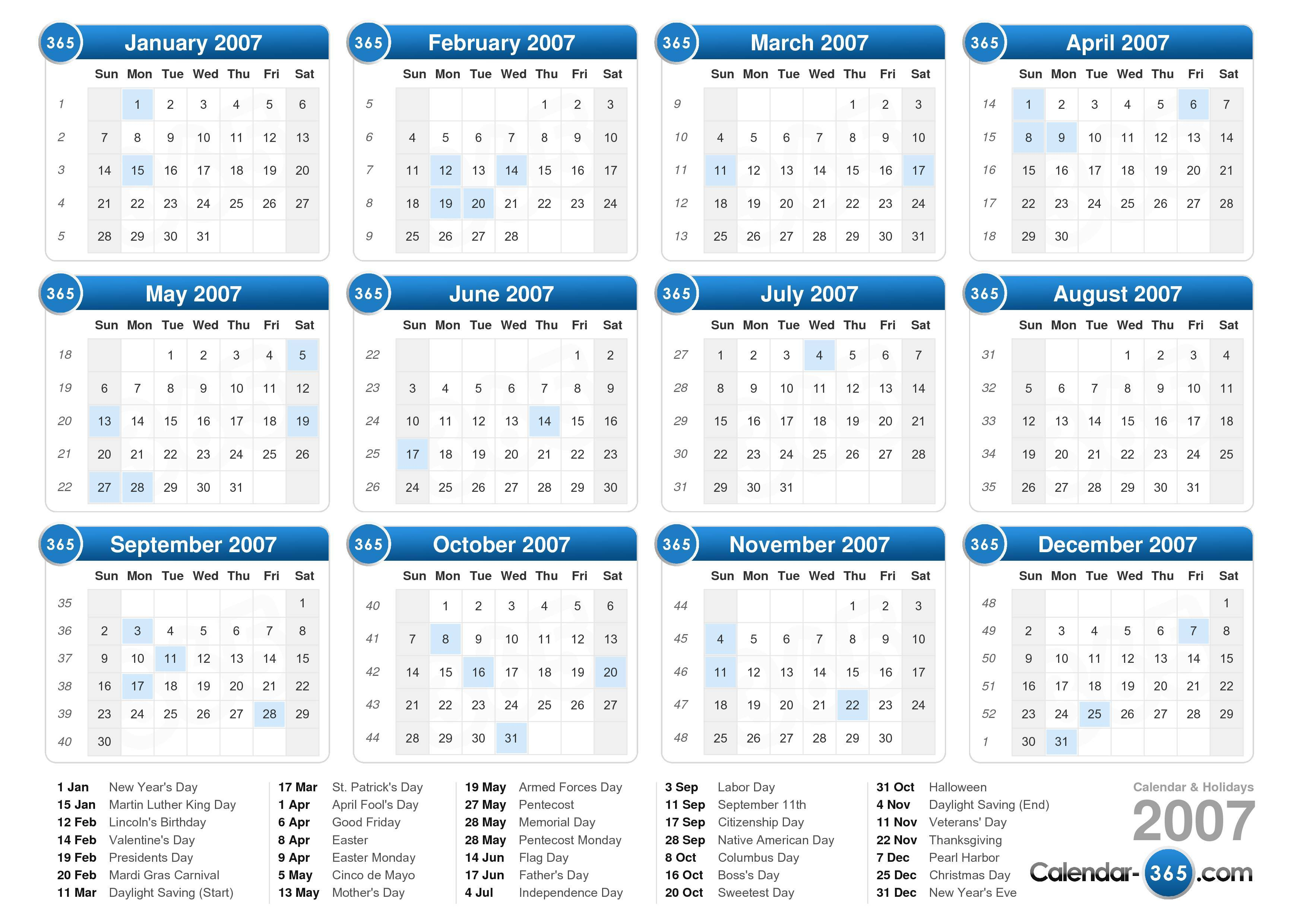 the 2007 calendar with holidays landscape format 1 page 2007 calendar ...
