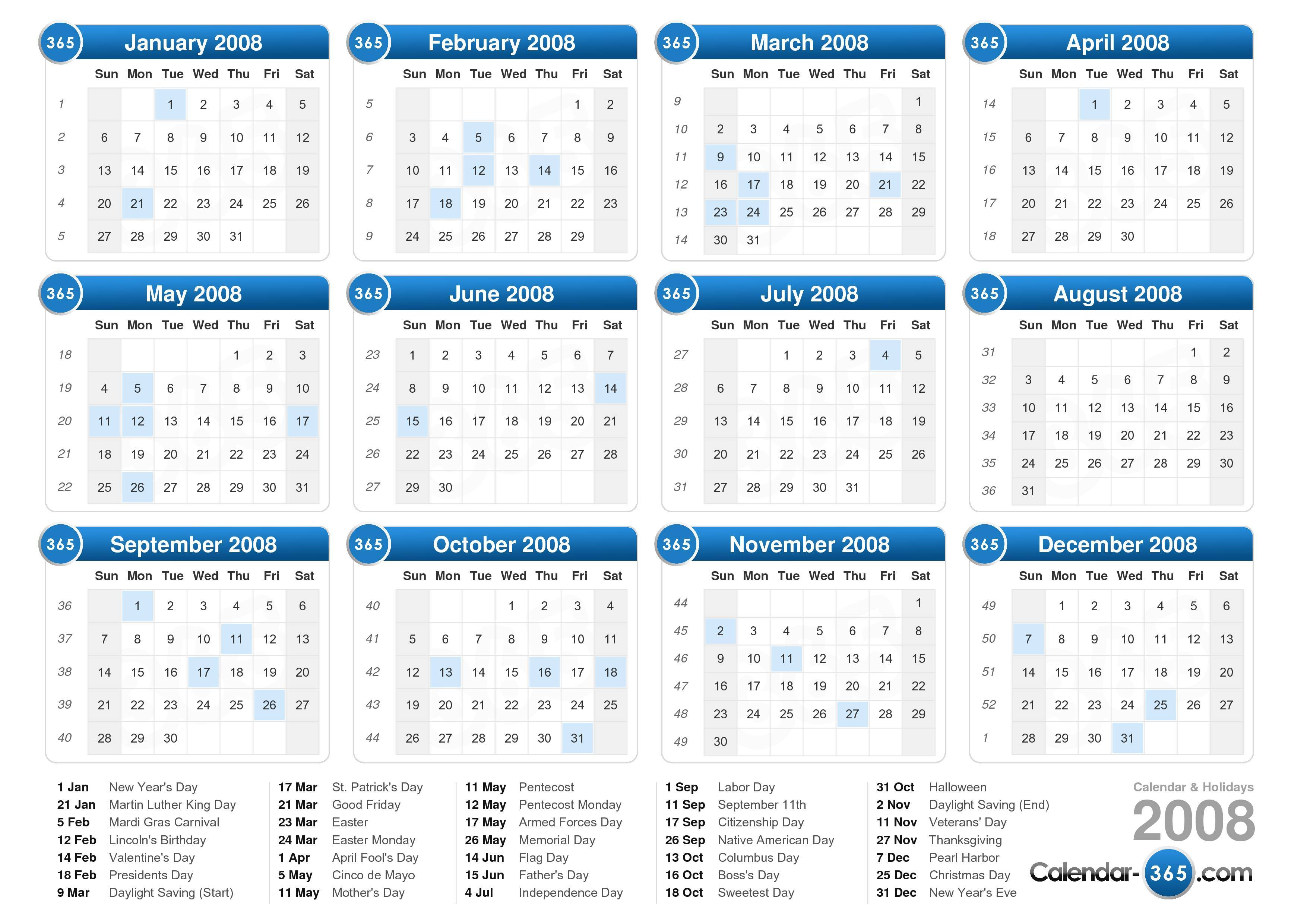 Download the 2008 Calendar with holidays . (Landscape format - 1 Page)