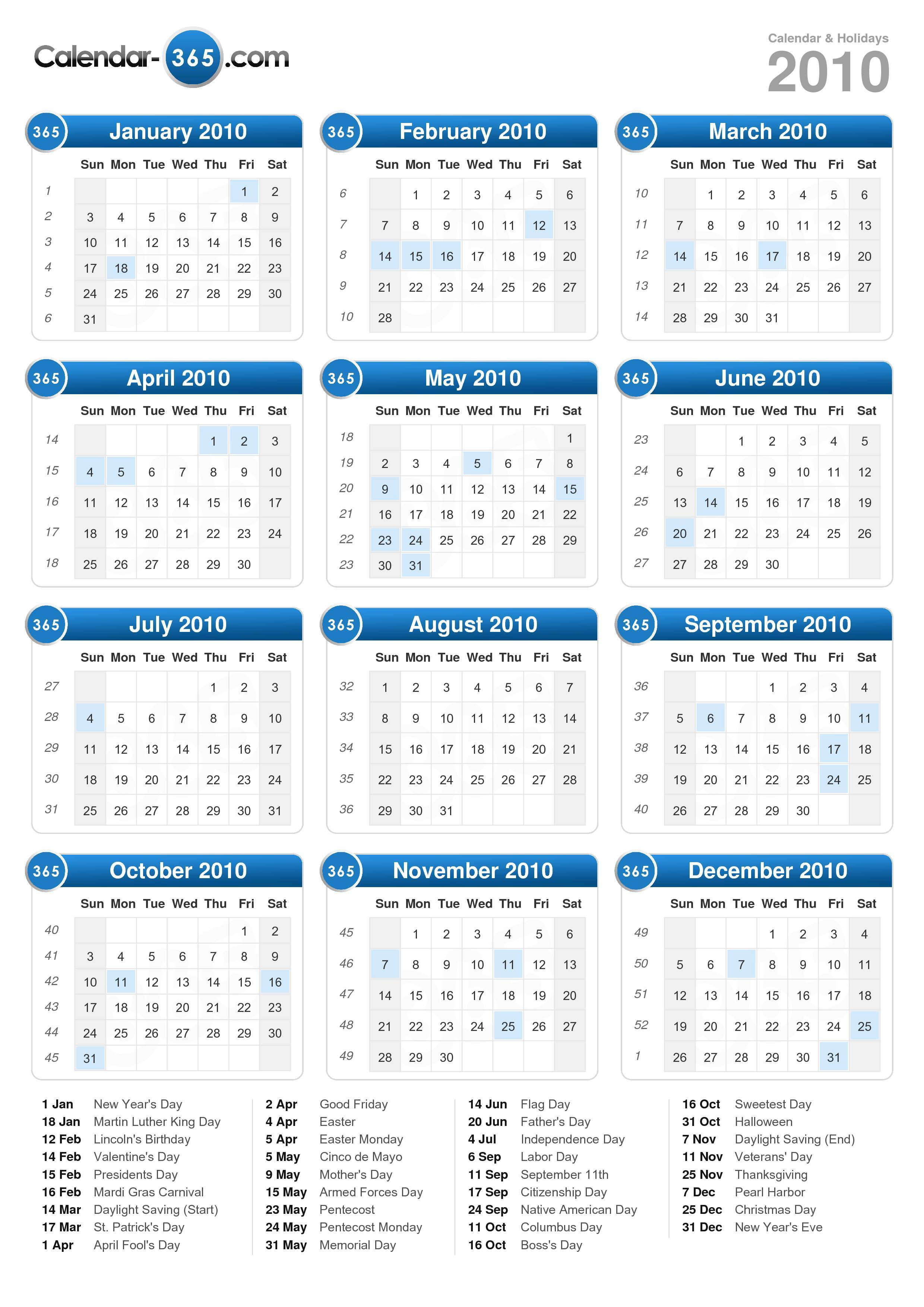 Download the 2010 Calendar with holidays . (Portrait format - 1 Page)