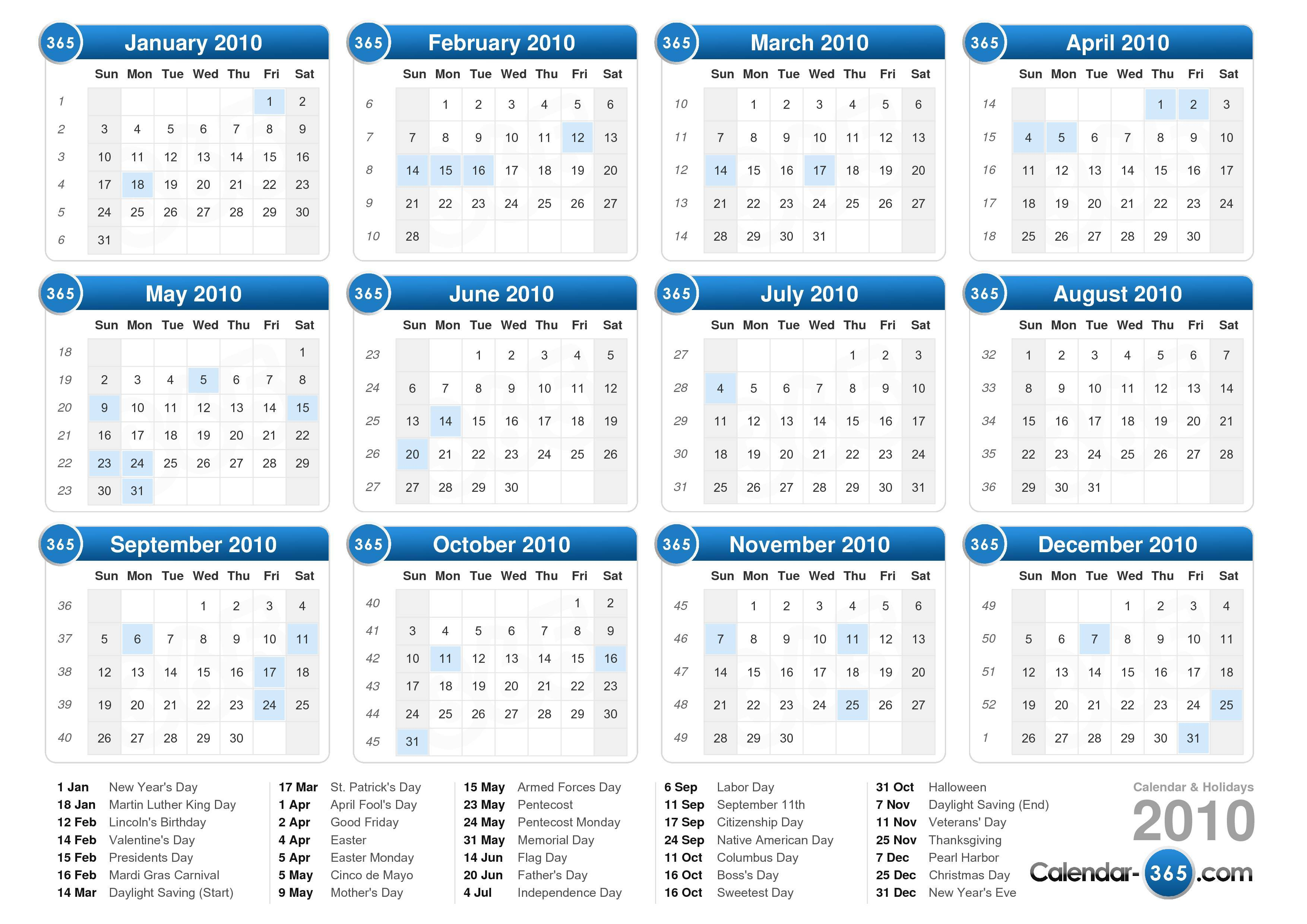 graphic relating to 2106 Calendar Printable identified as 2010 Calendar