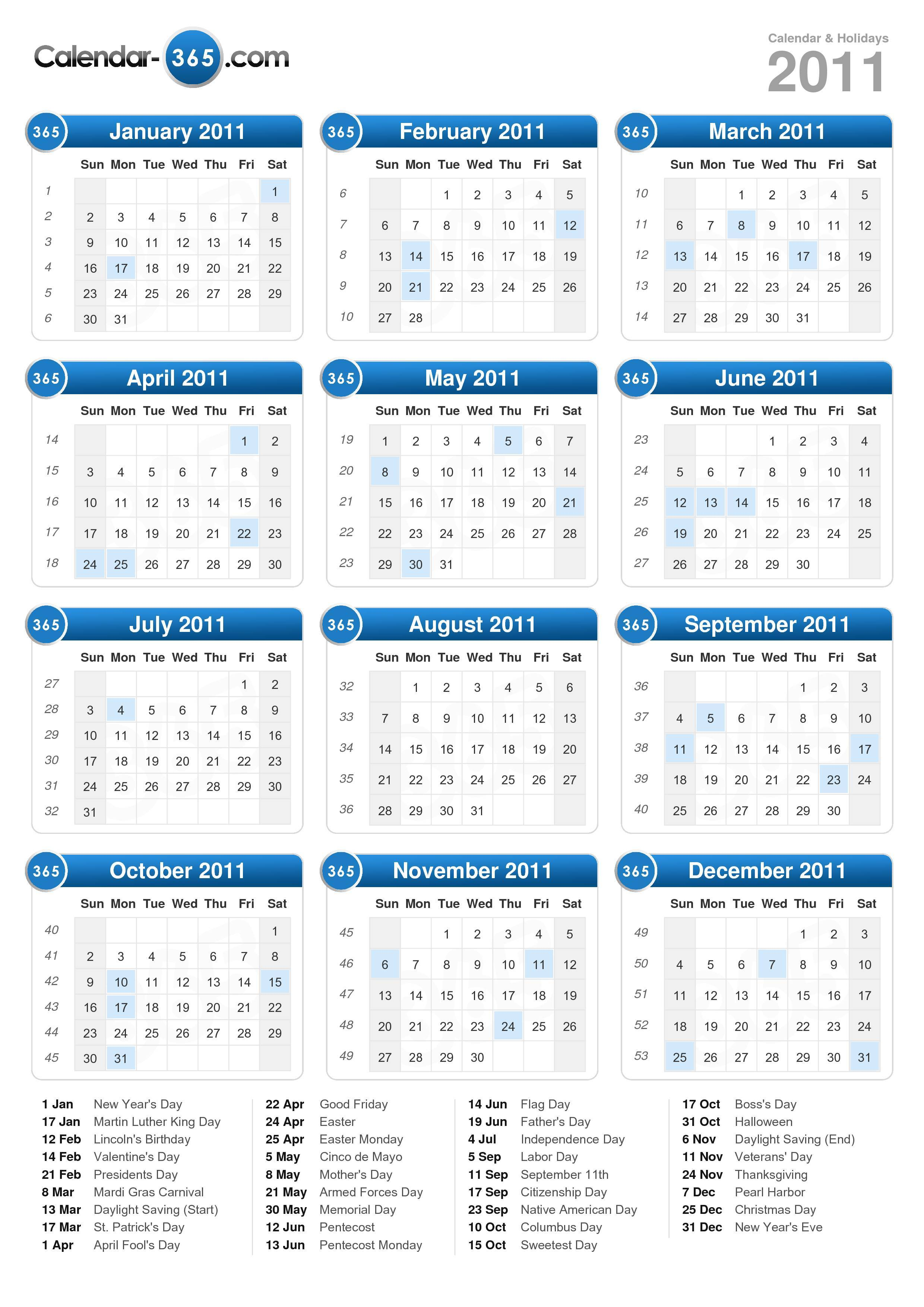 Download the 2011 Calendar with holidays . (Portrait format - 1 Page)