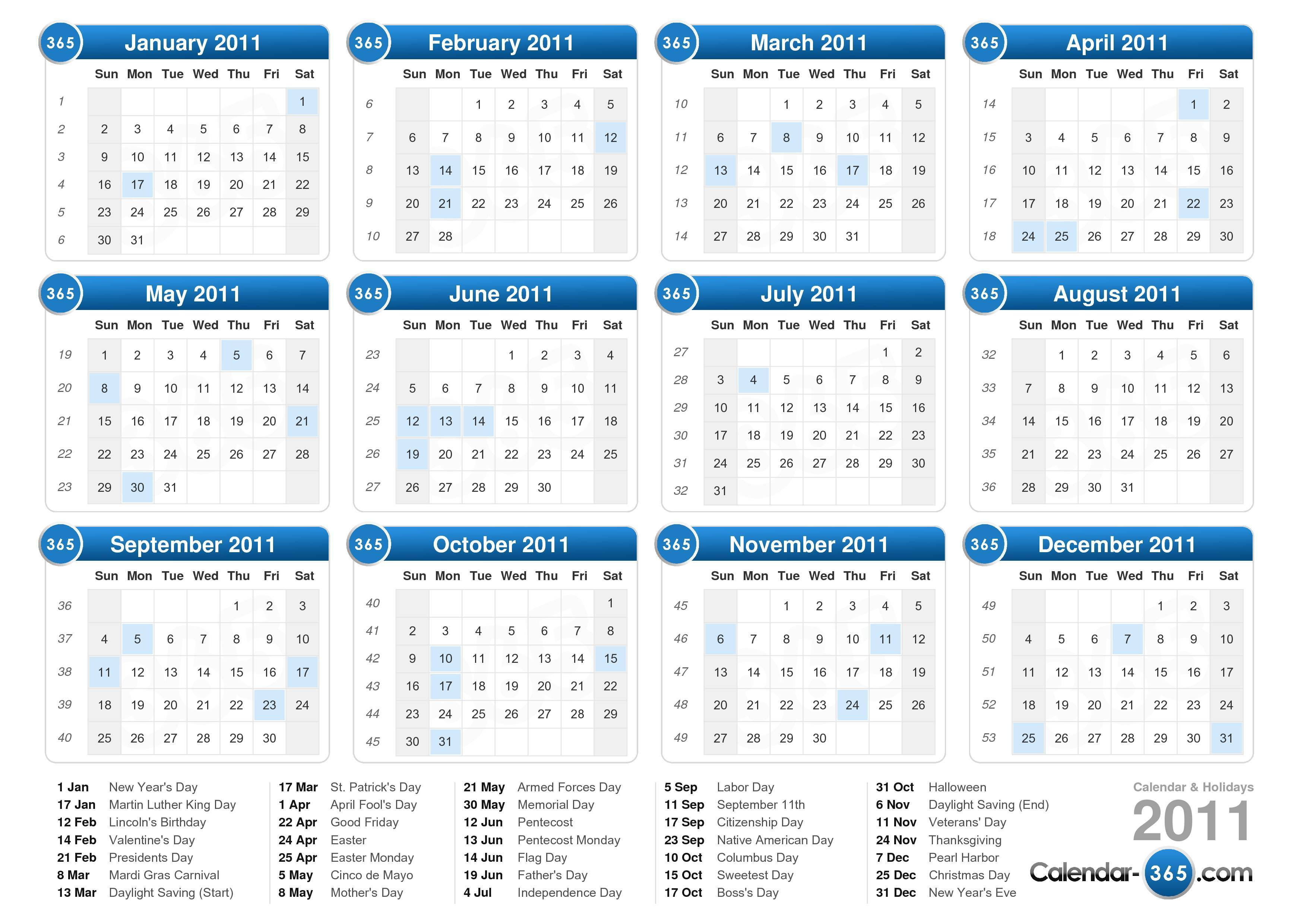the 2011 calendar with holidays landscape format 1 page 2011 calendar ...