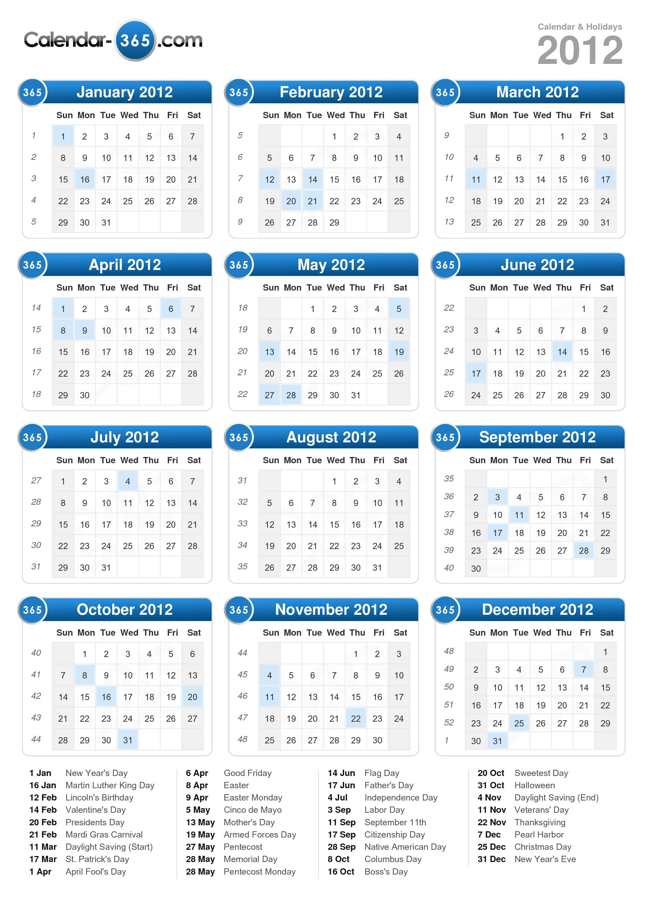 Download the 2012 Calendar with holidays . (Portrait format - 1 Page)
