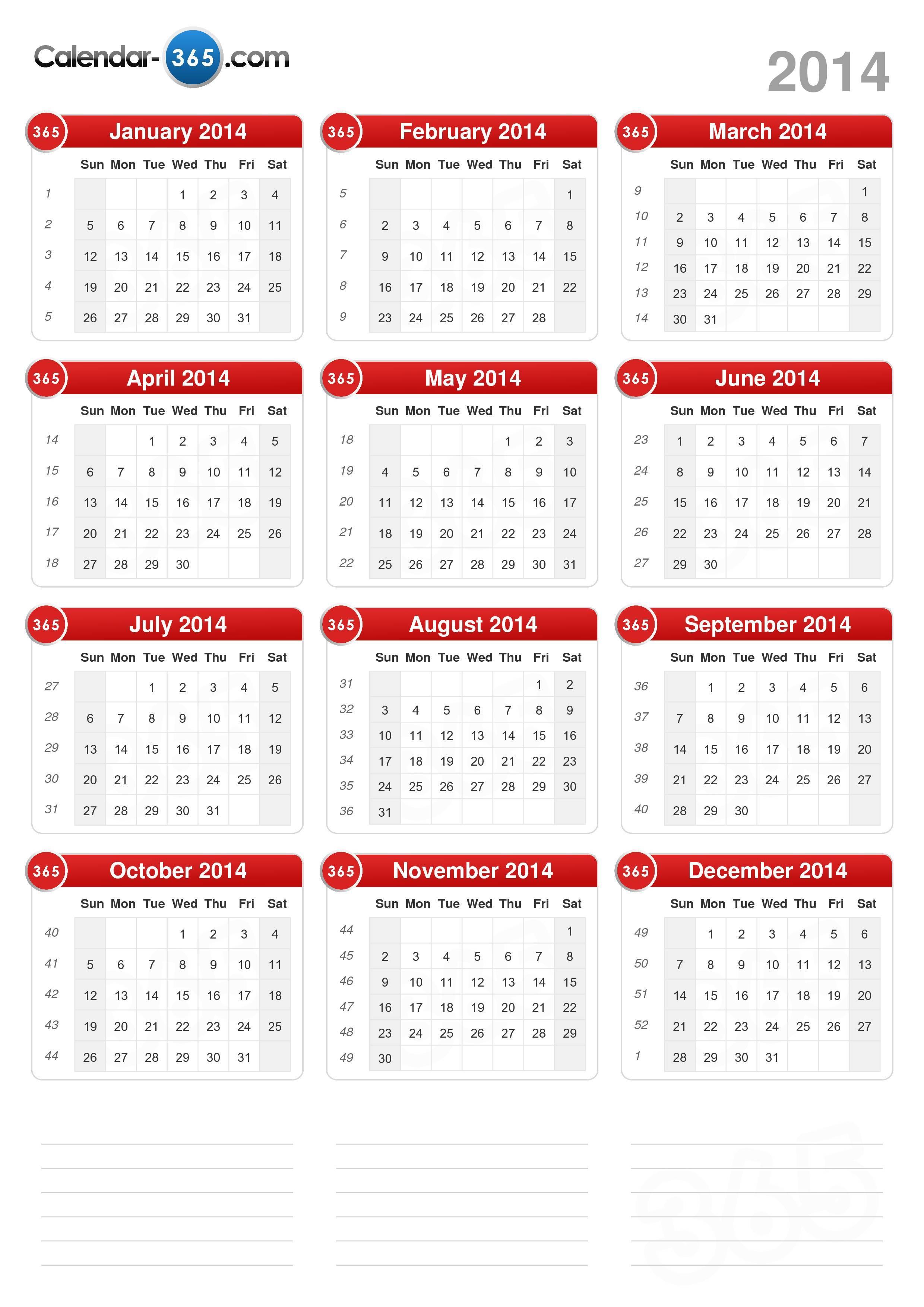 Online Calendar 2014-2019 2014 Calendar