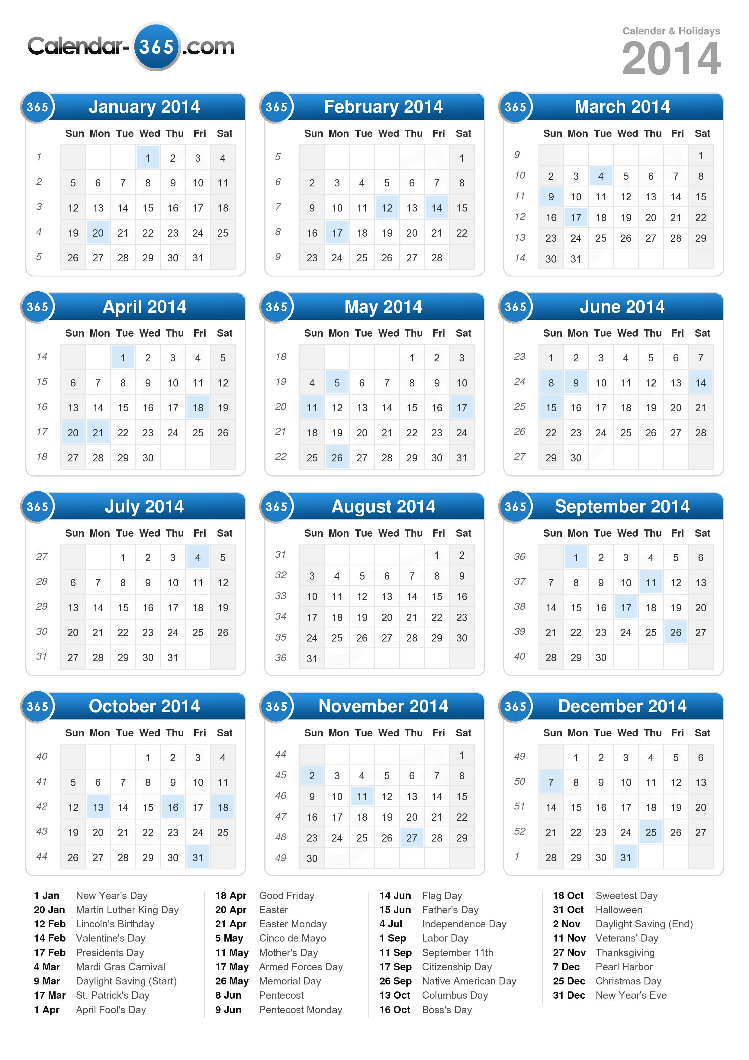 Download the 2014 Calendar with holidays . (Portrait format - 1 Page)