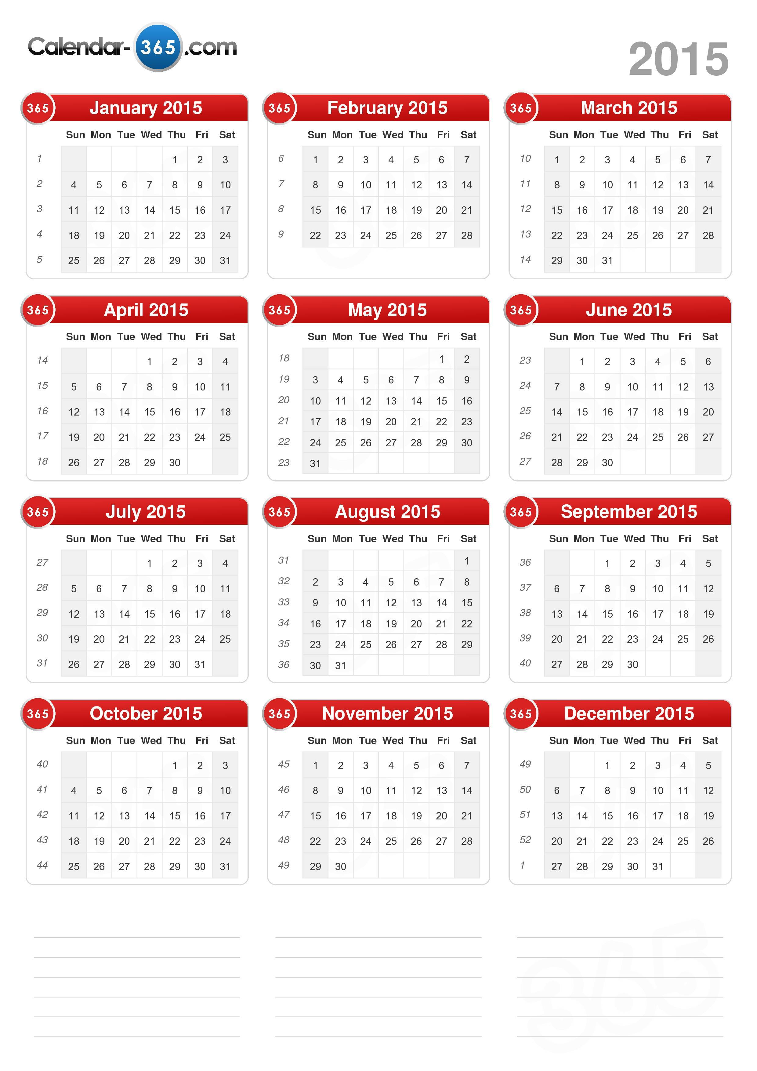 Download the 2015 Calendar without holidays . (Portrait format - 1 ...
