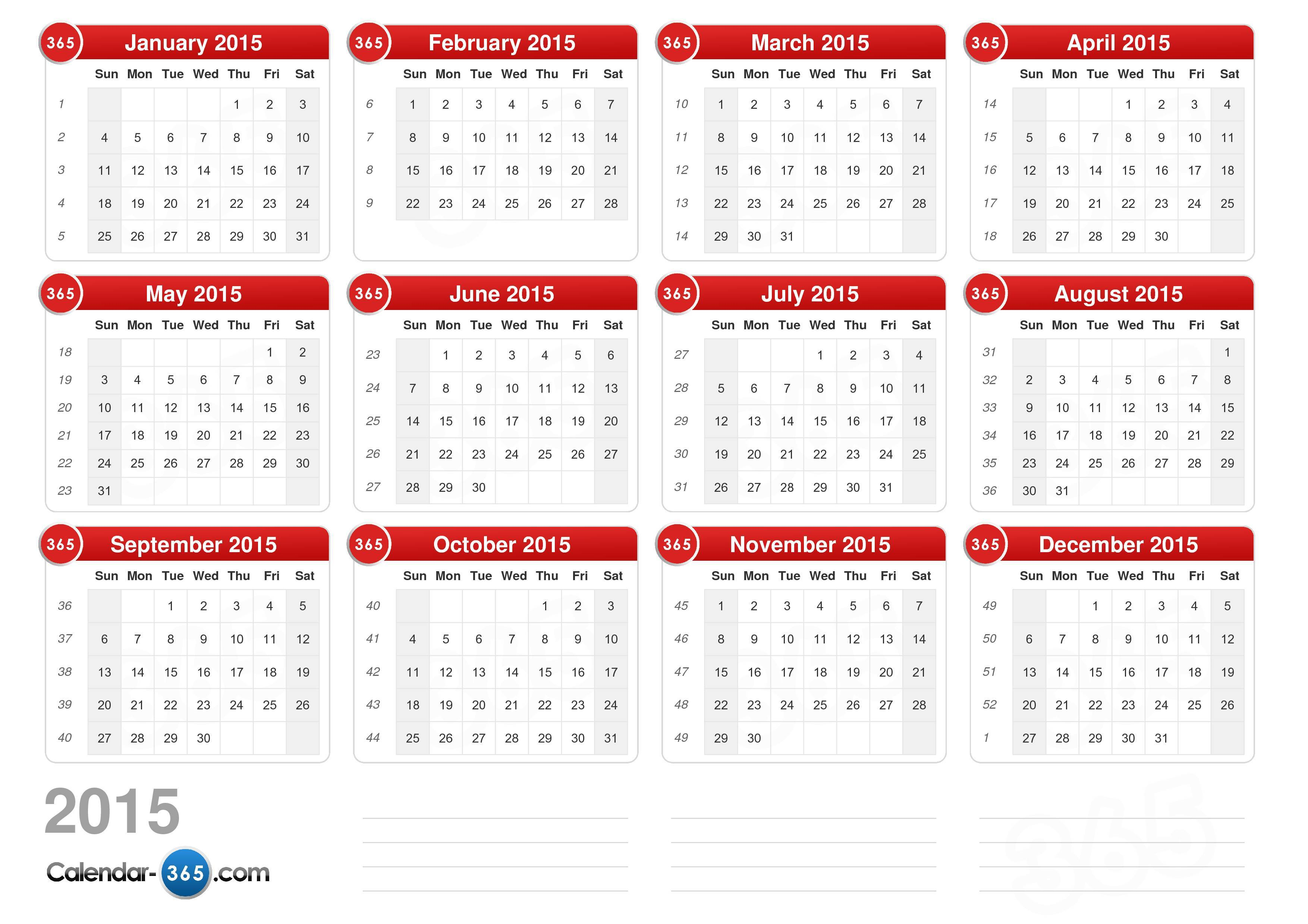 the 2015 calendar without holidays landscape format 1 page 2015 ...