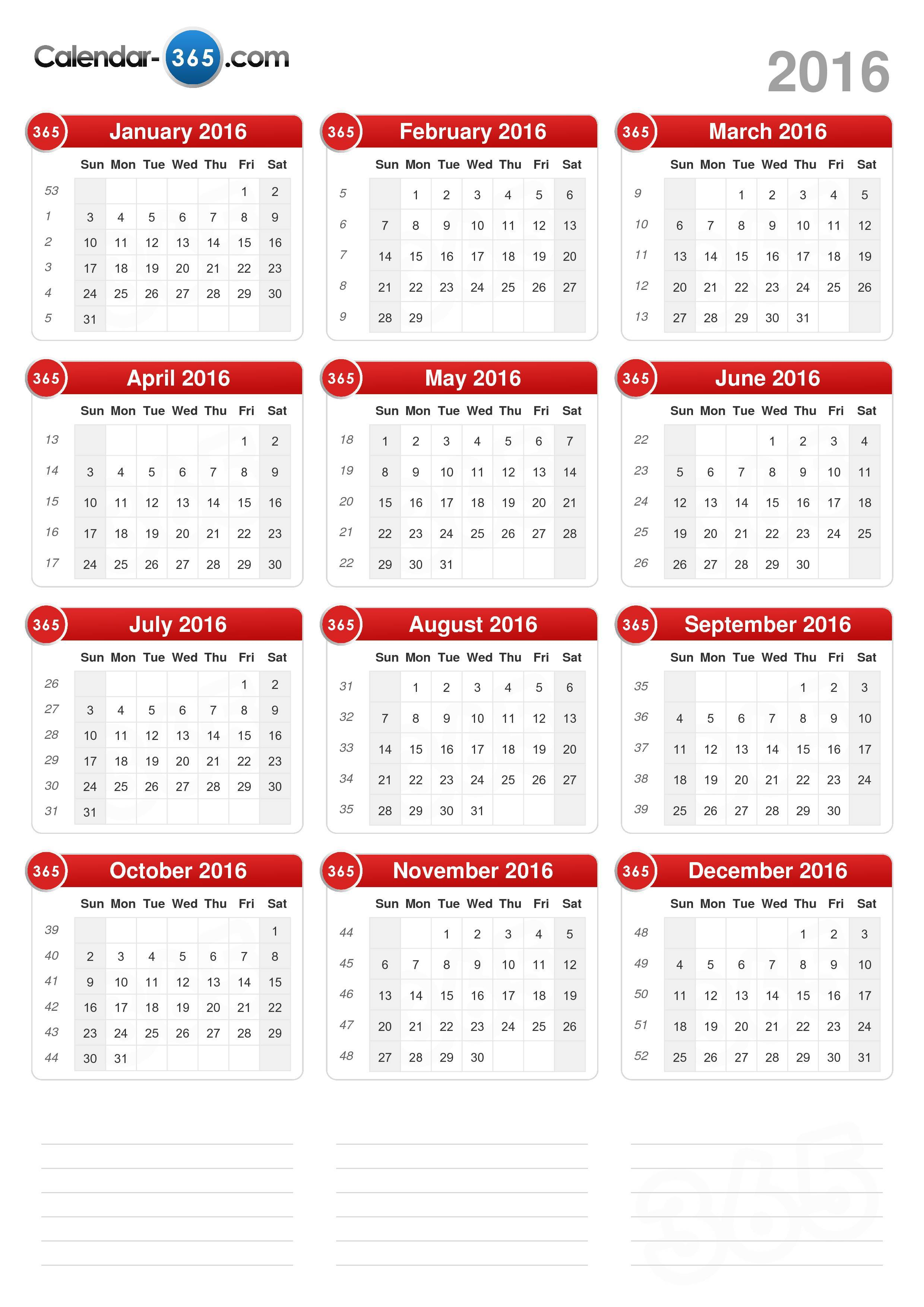 ... the 2016 Calendar without holidays . (Portrait format - 1 Page
