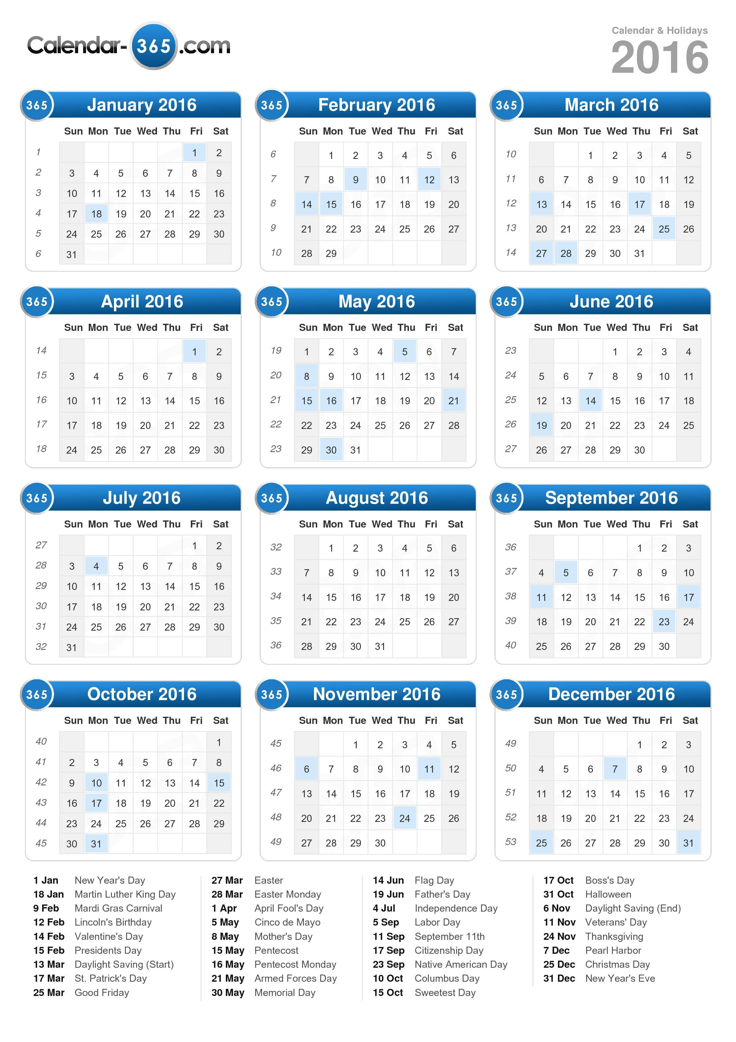 Download the 2016 Calendar with holidays . (Portrait format - 1 Page)