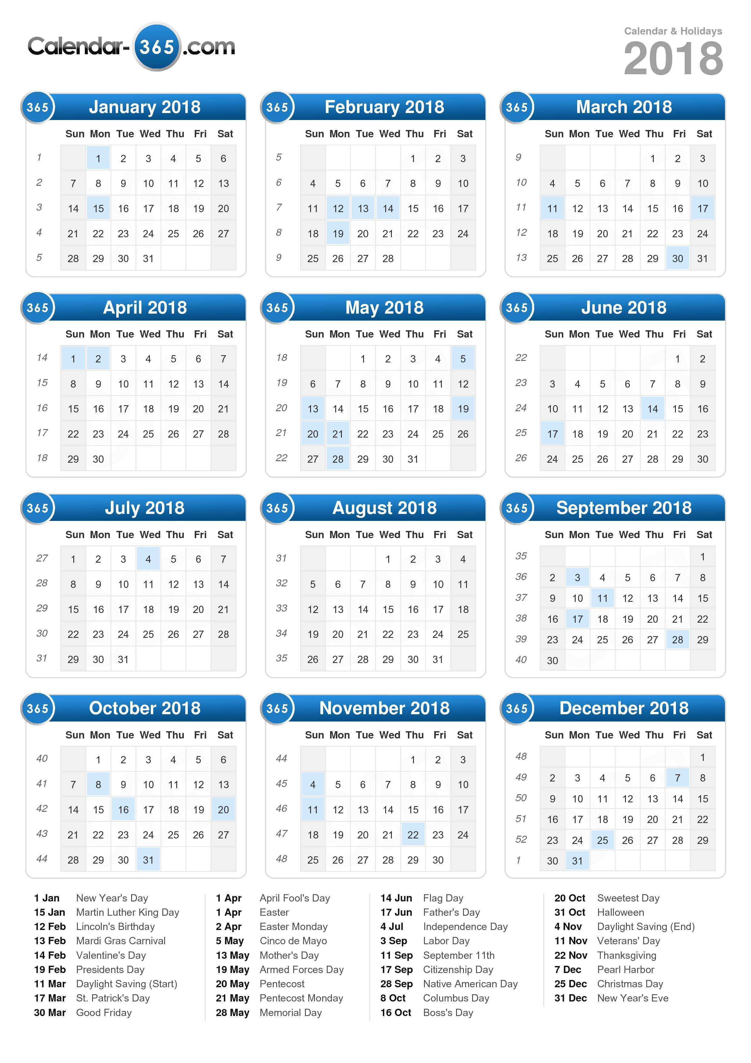 Download the 2018 Calendar with holidays . (Portrait format - 1 Page)