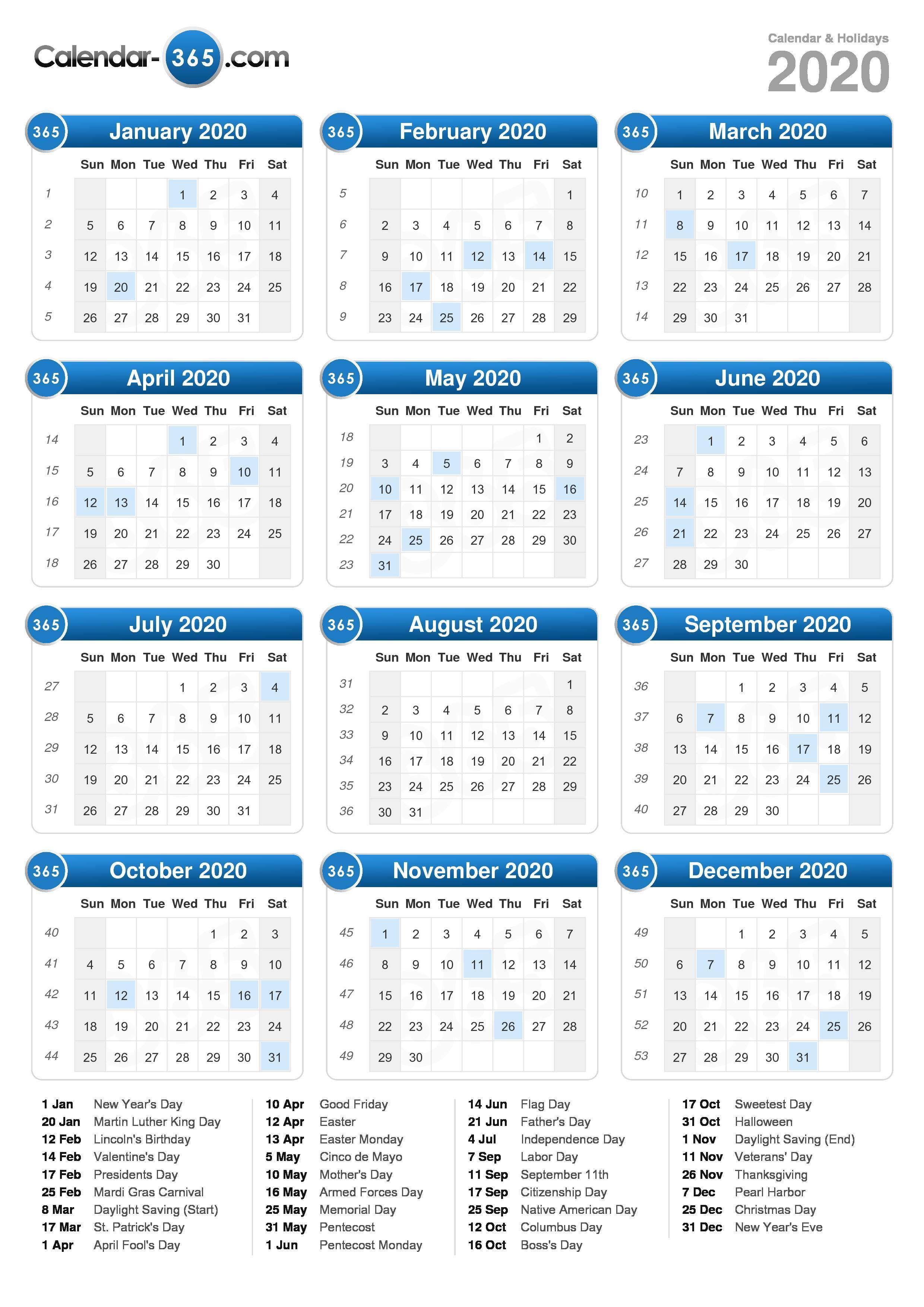 2020 Calendar (portrait format)