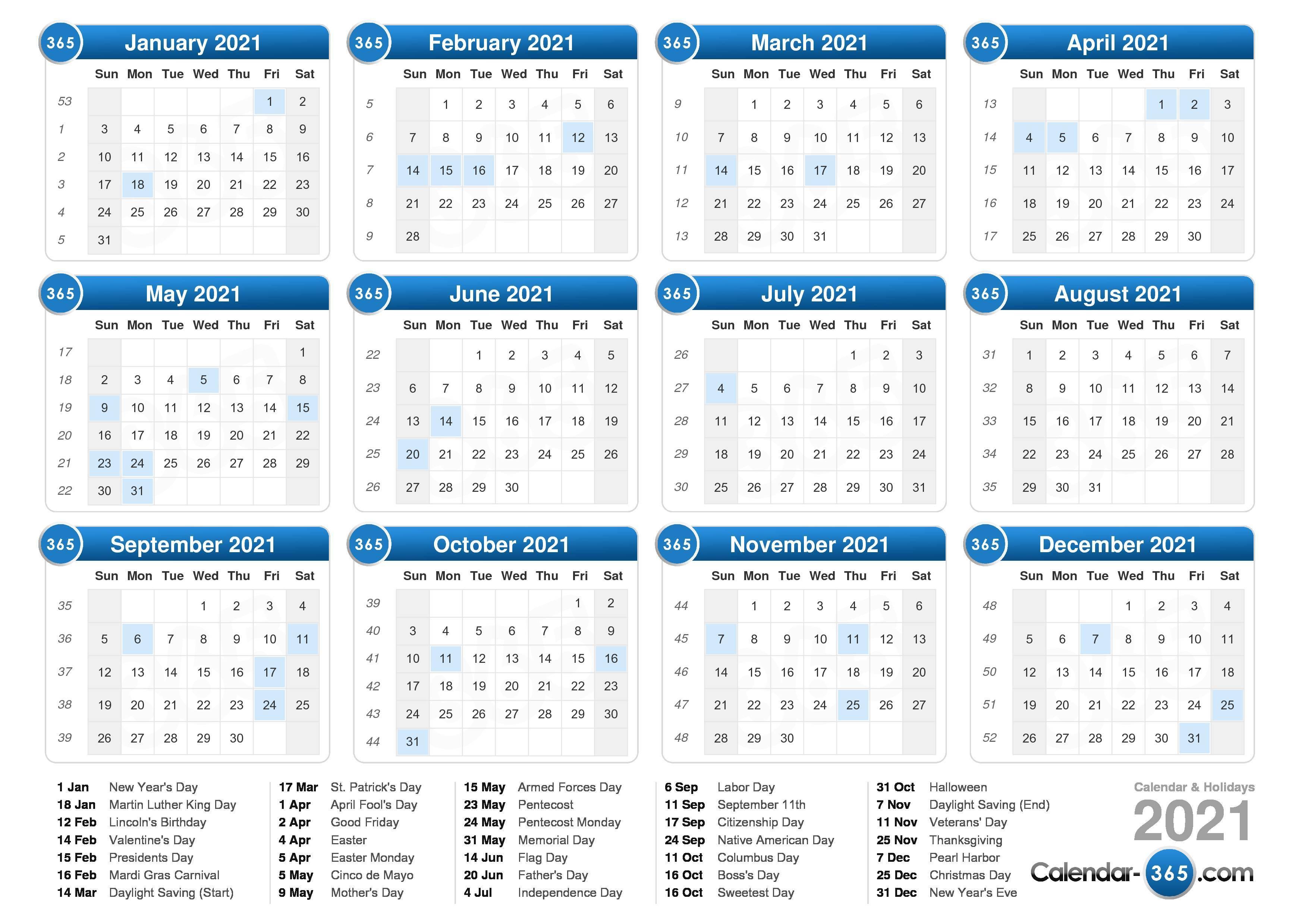 Show Me A 2021 Calendar 2021 Calendar