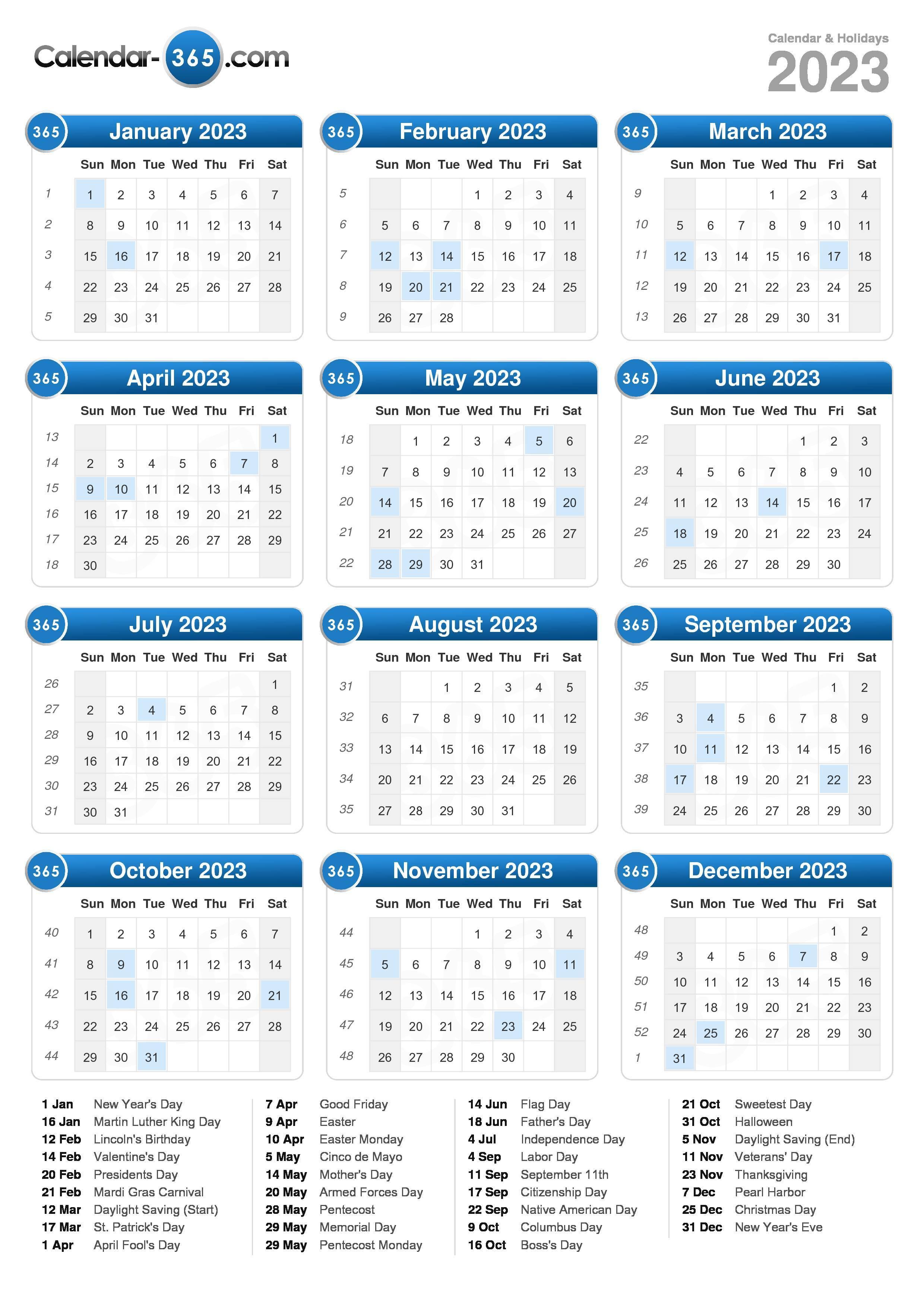 2023 calendar portrait format