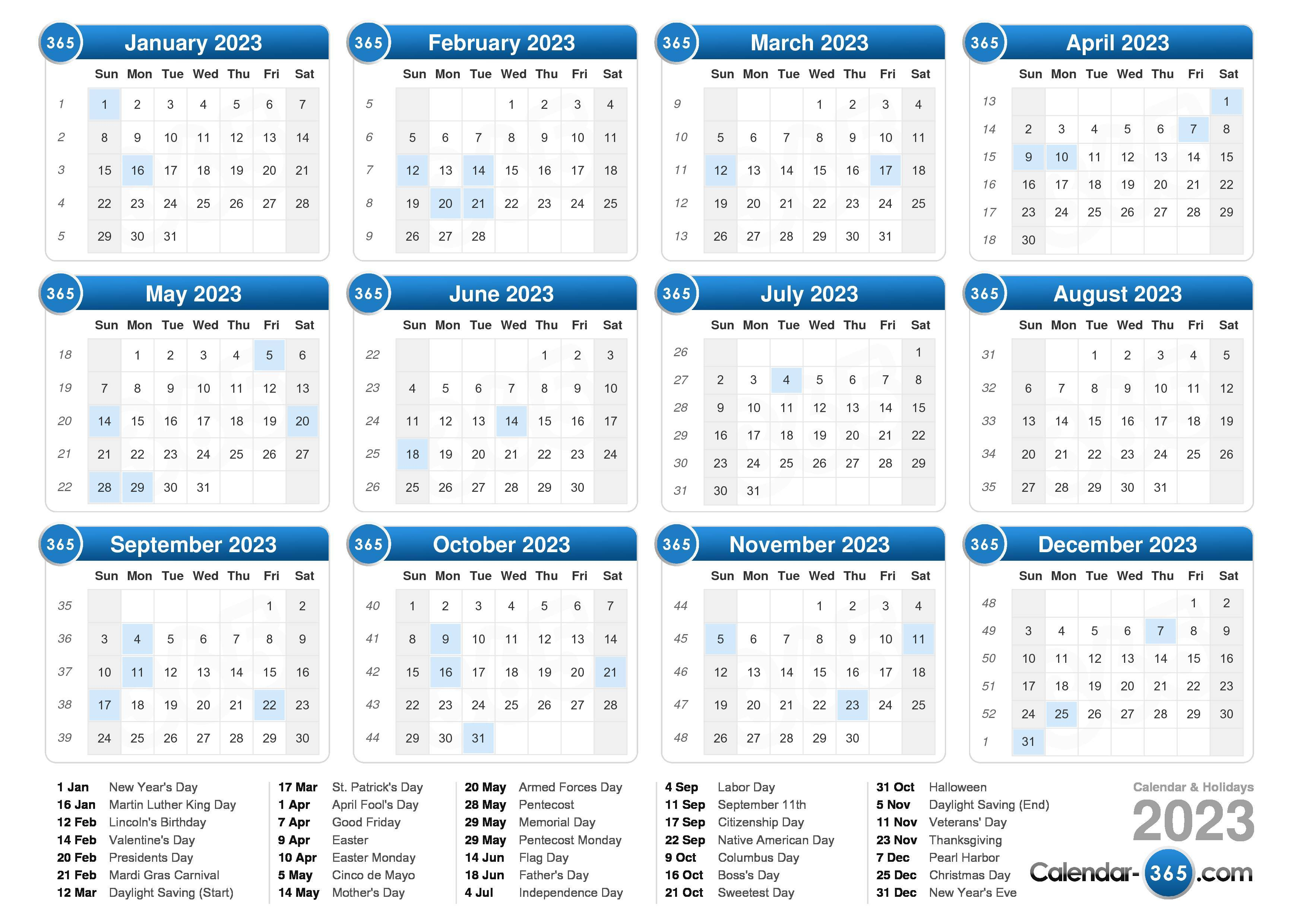 Download the 2023 Calendar with holidays . (Landscape format - 1 Page)