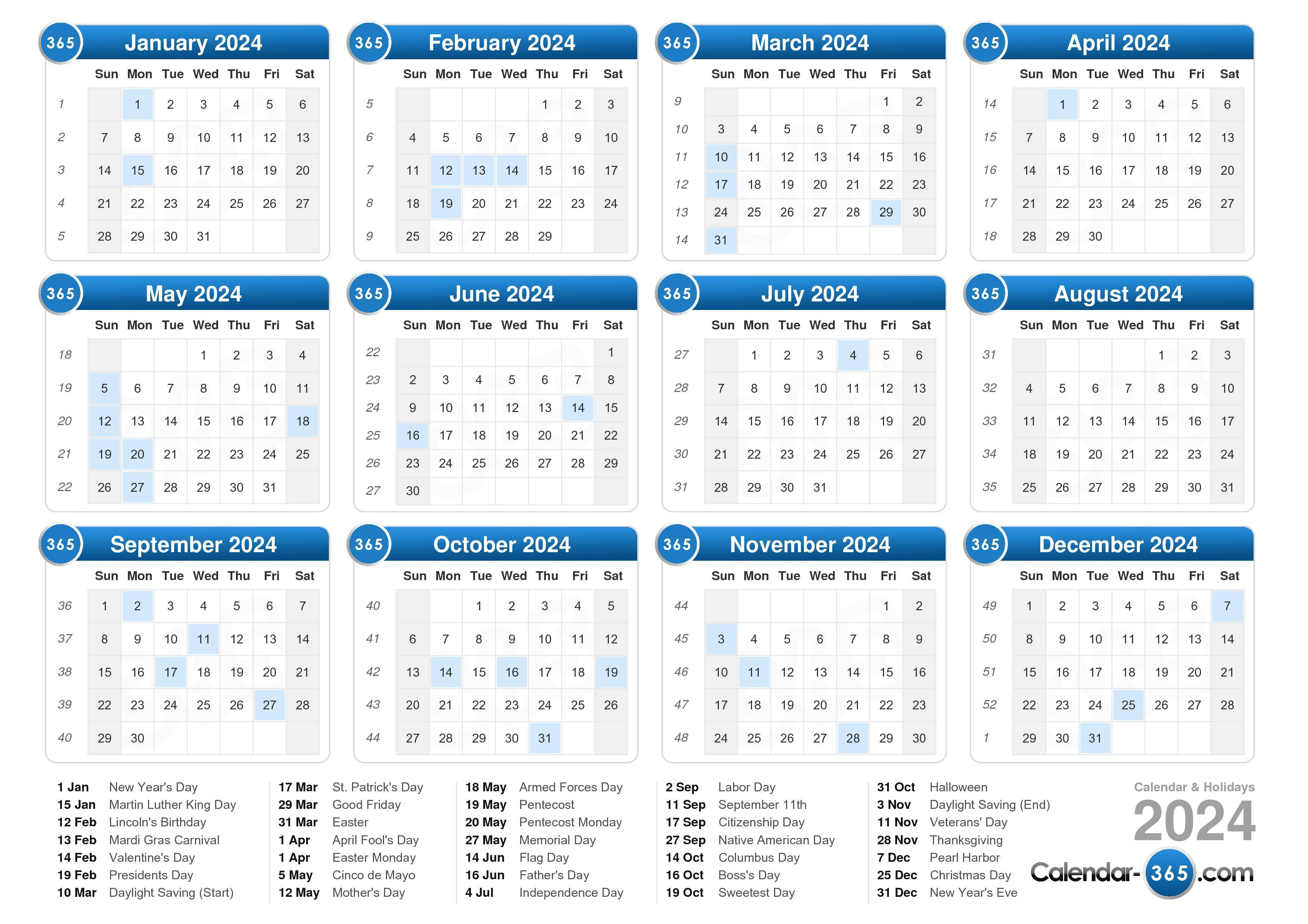 Download the printable 2024 calendar with holidays.