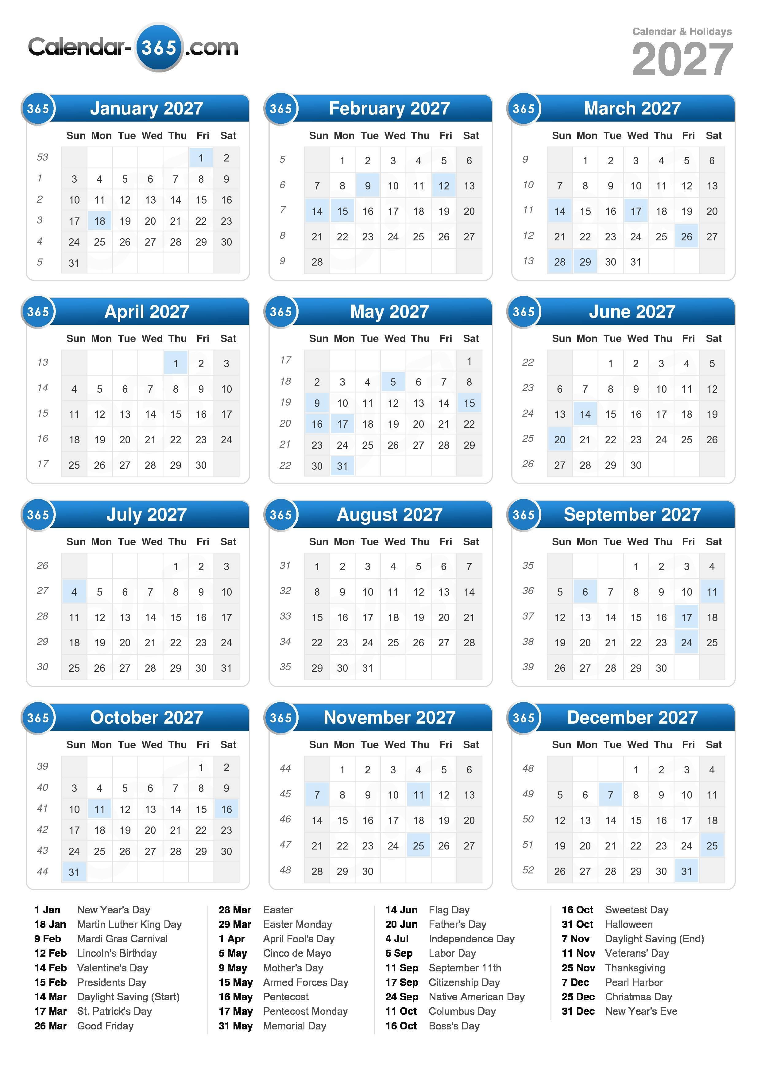 2027 Calendar (portrait format)
