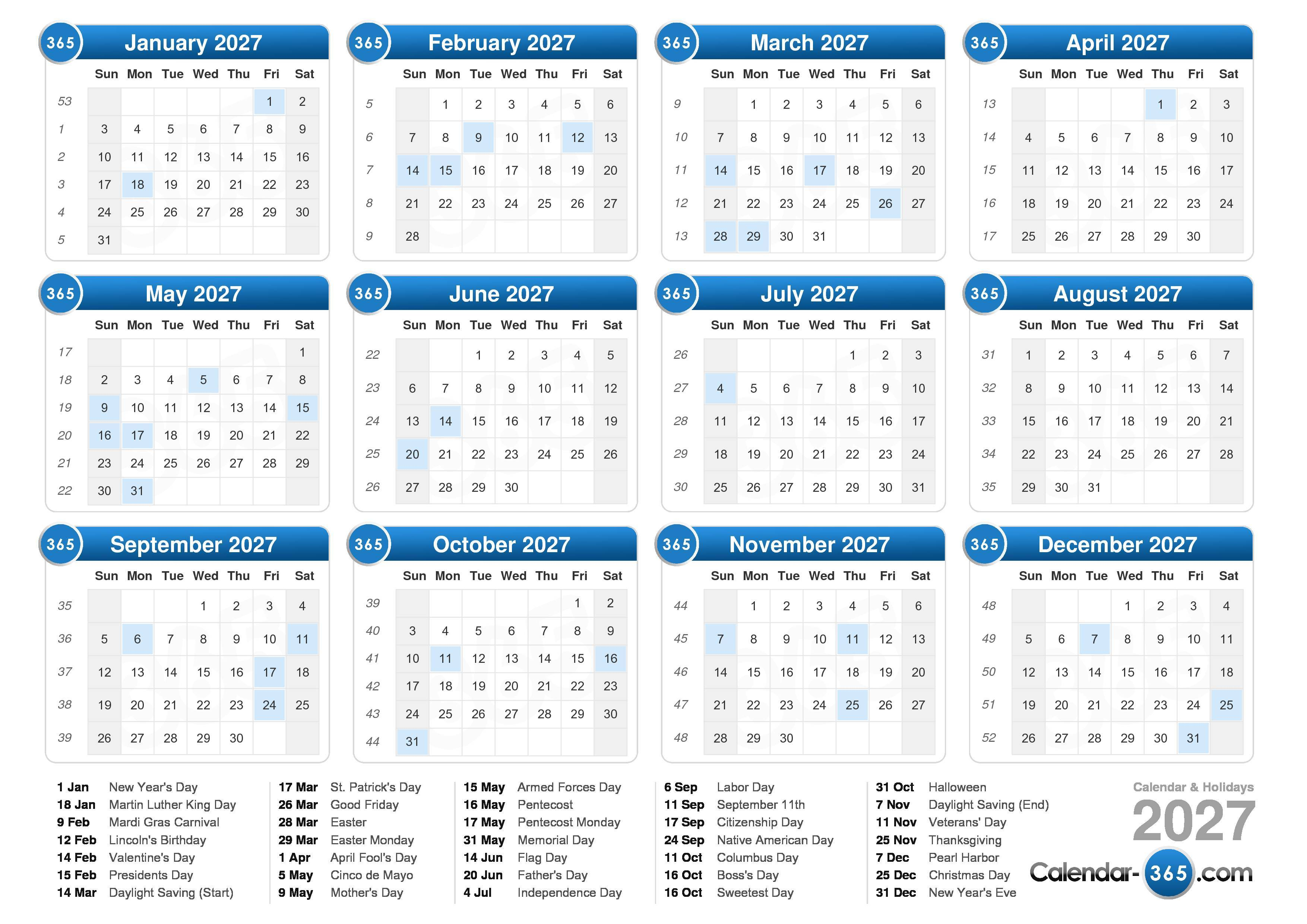 Download the 2027 Calendar with holidays . (Landscape format - 1 Page)