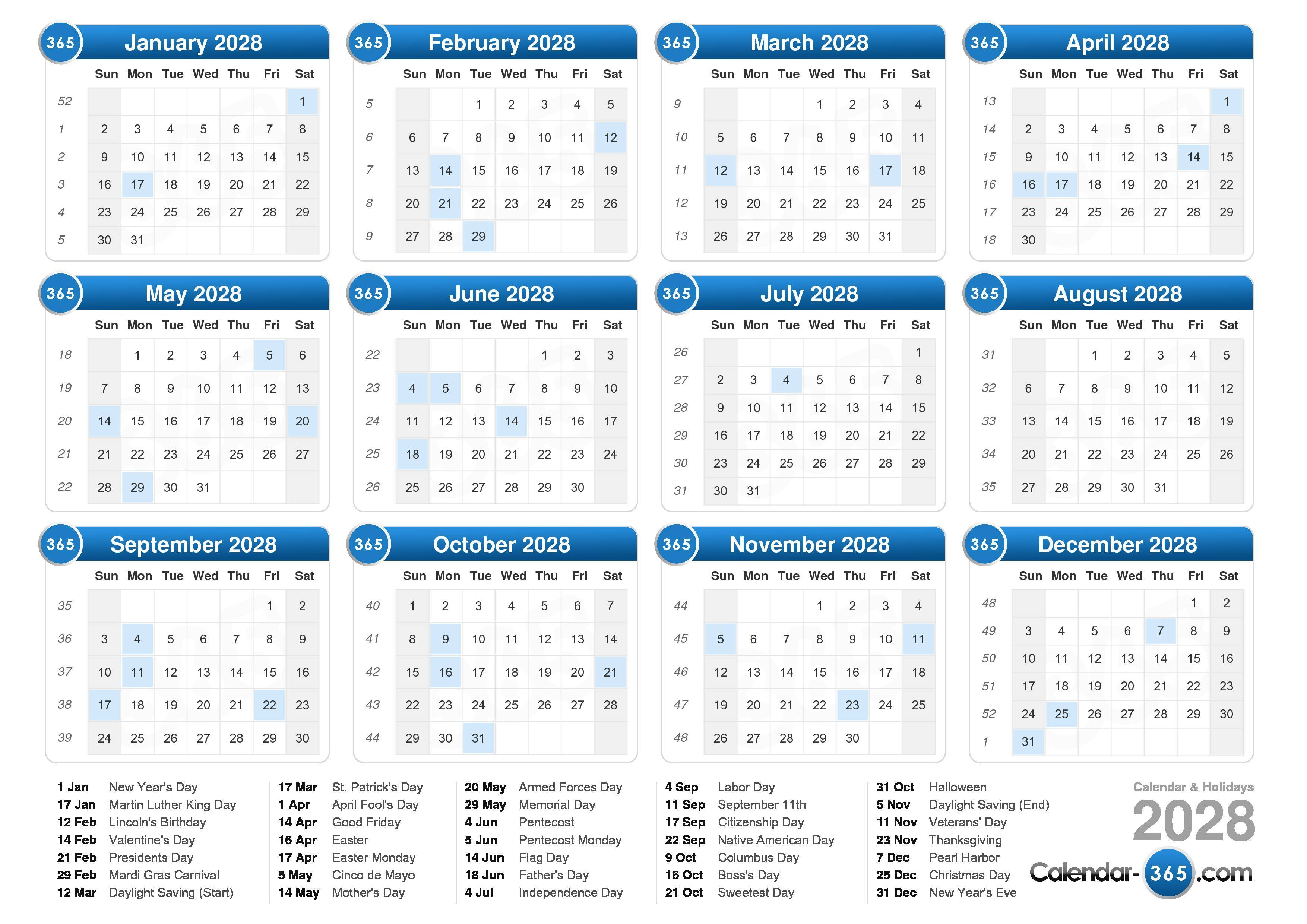 ... calendar with holidays landscape format 1 page 2028 calendar 704 5 508