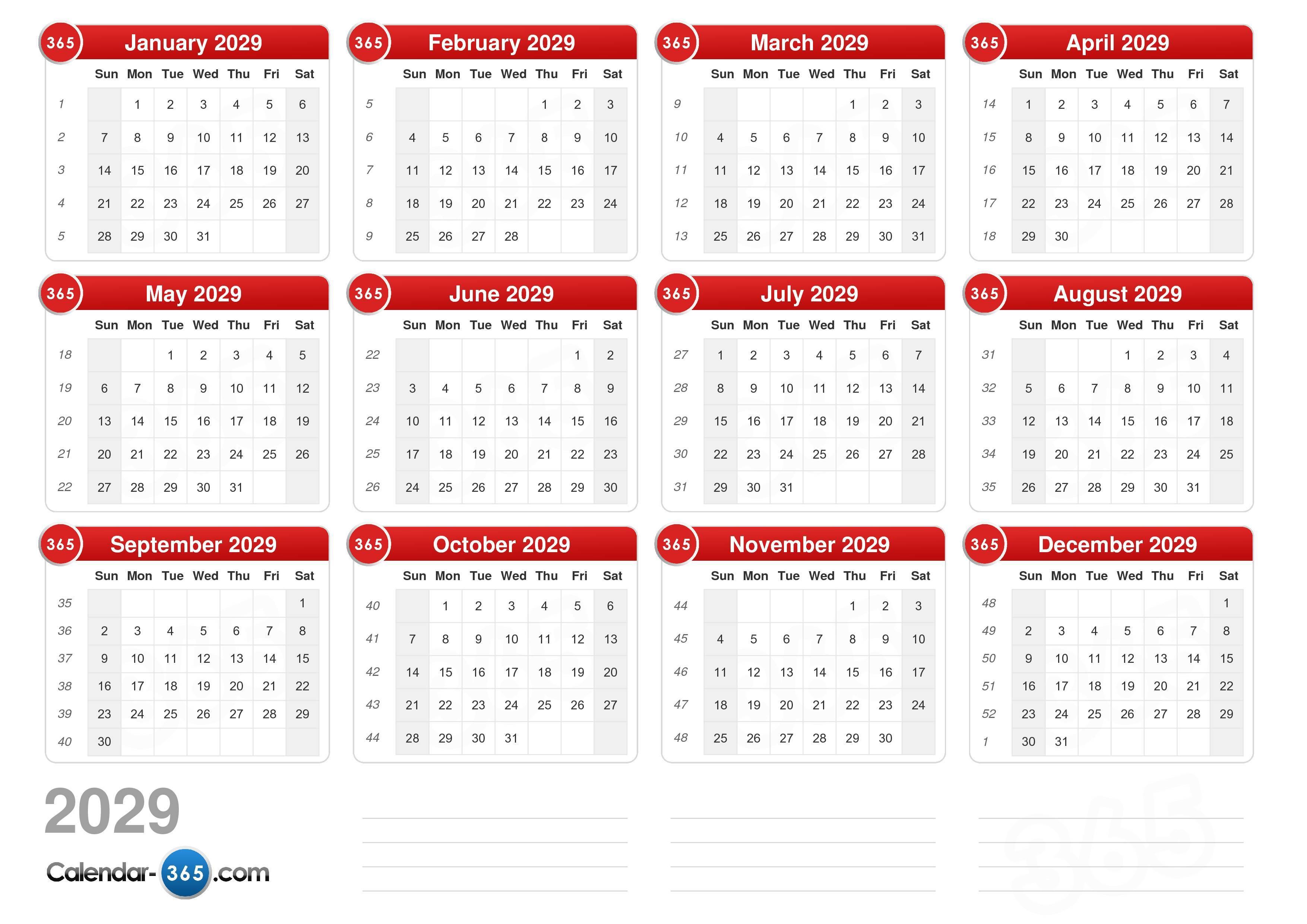 2029 Calendar (v2)