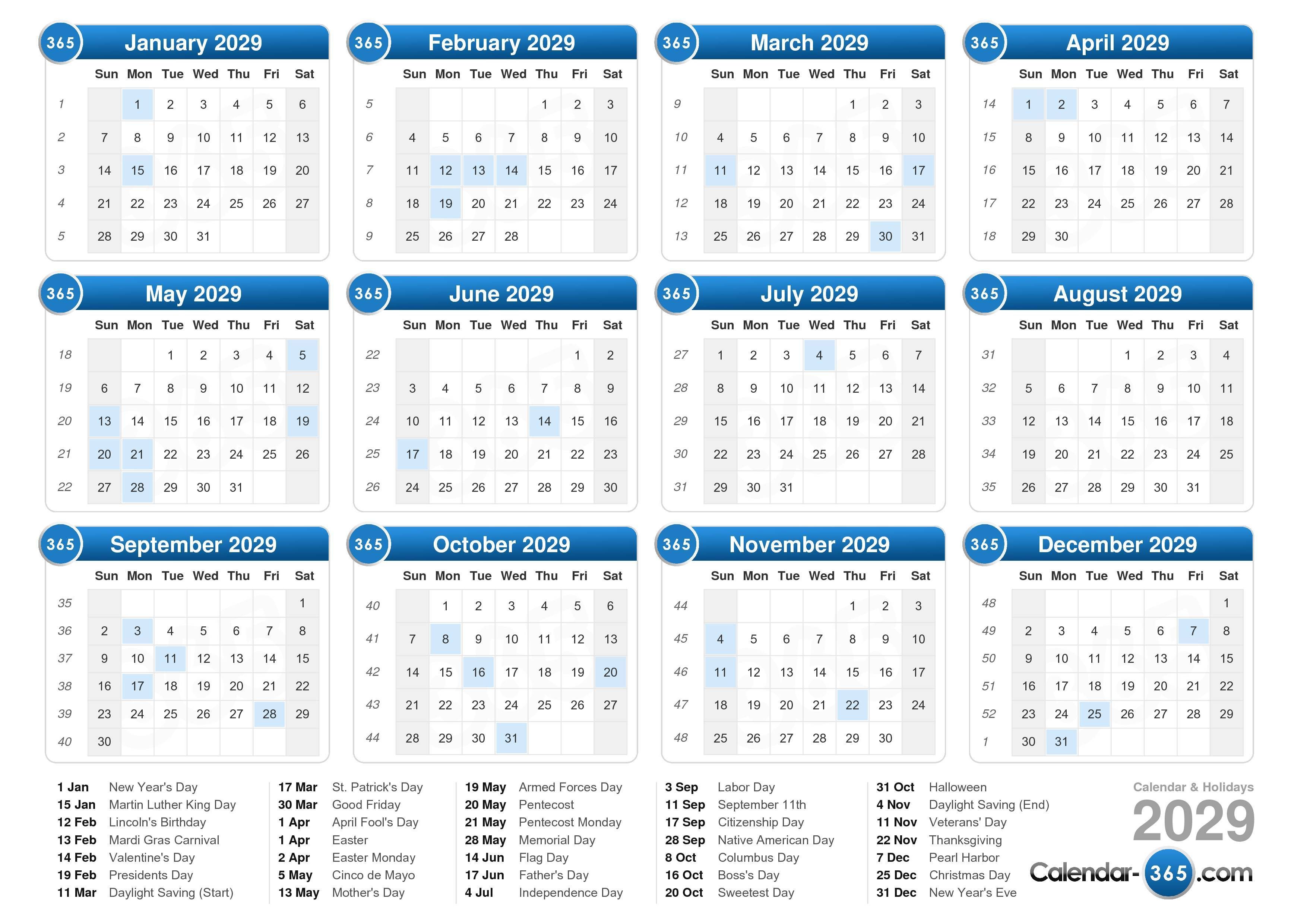 ... calendar with holidays landscape format 1 page 2029 calendar 813 8 423