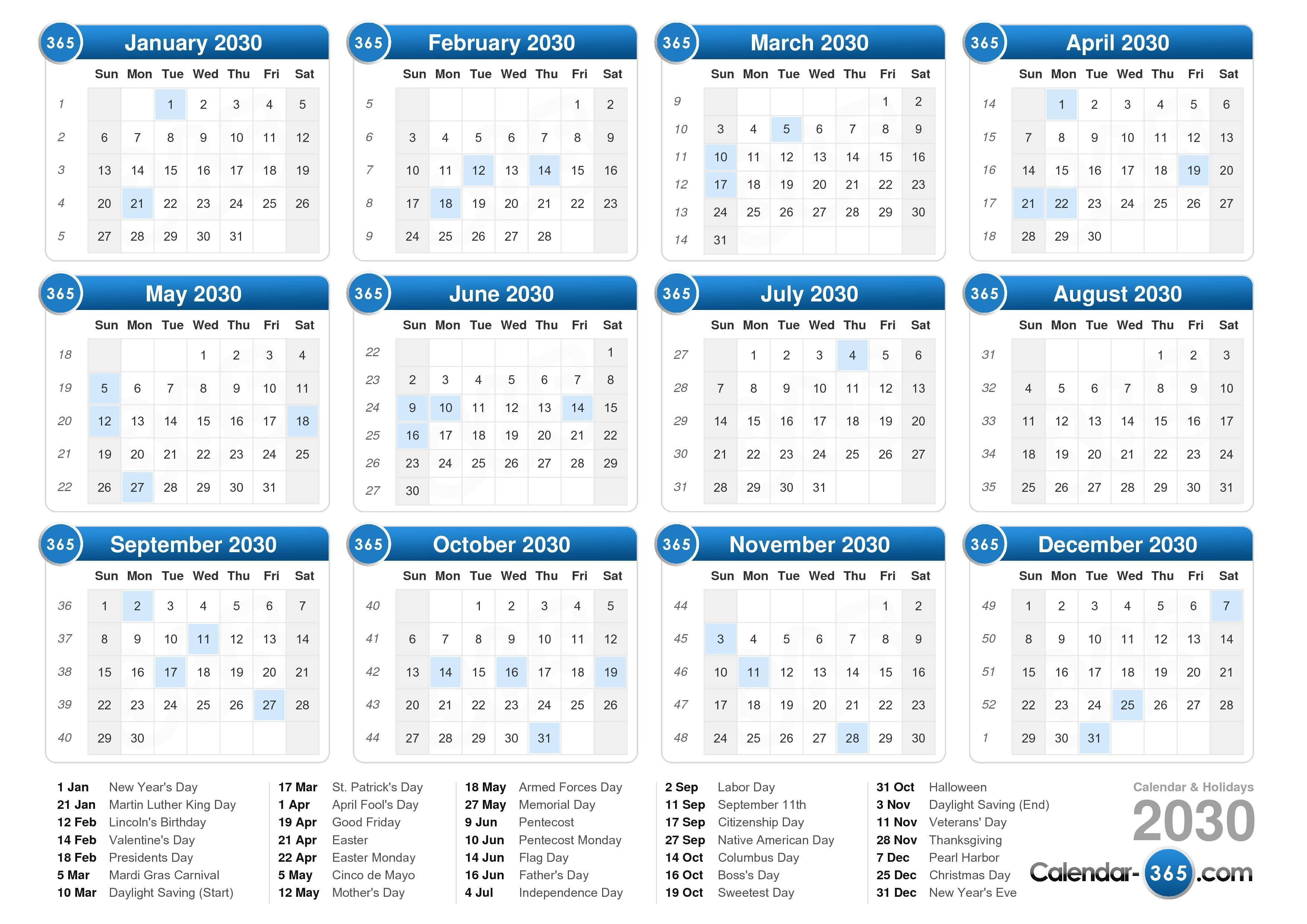 ... calendar with holidays landscape format 1 page 2030 calendar 736 5 075