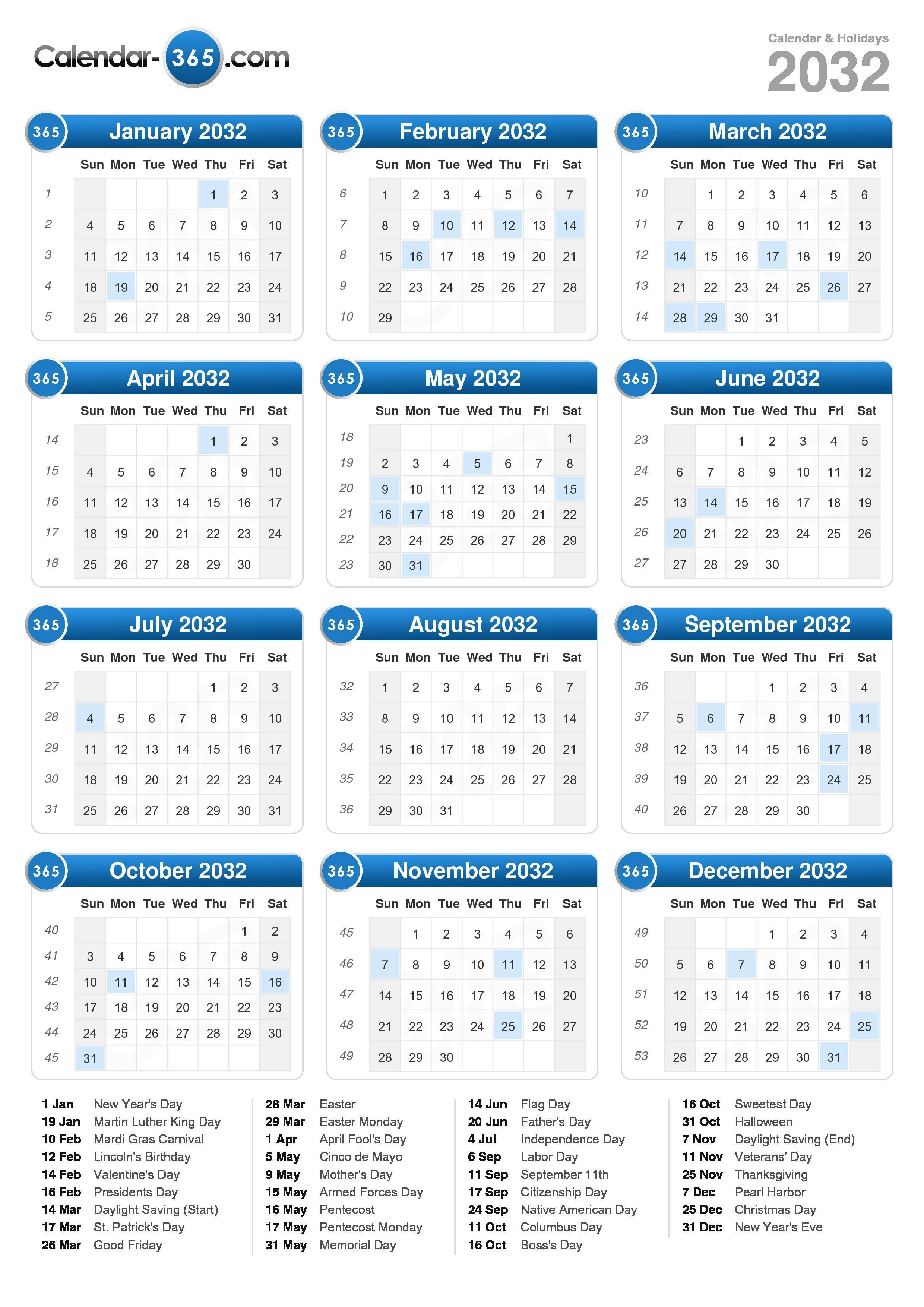 2032 Calendar (portrait format)