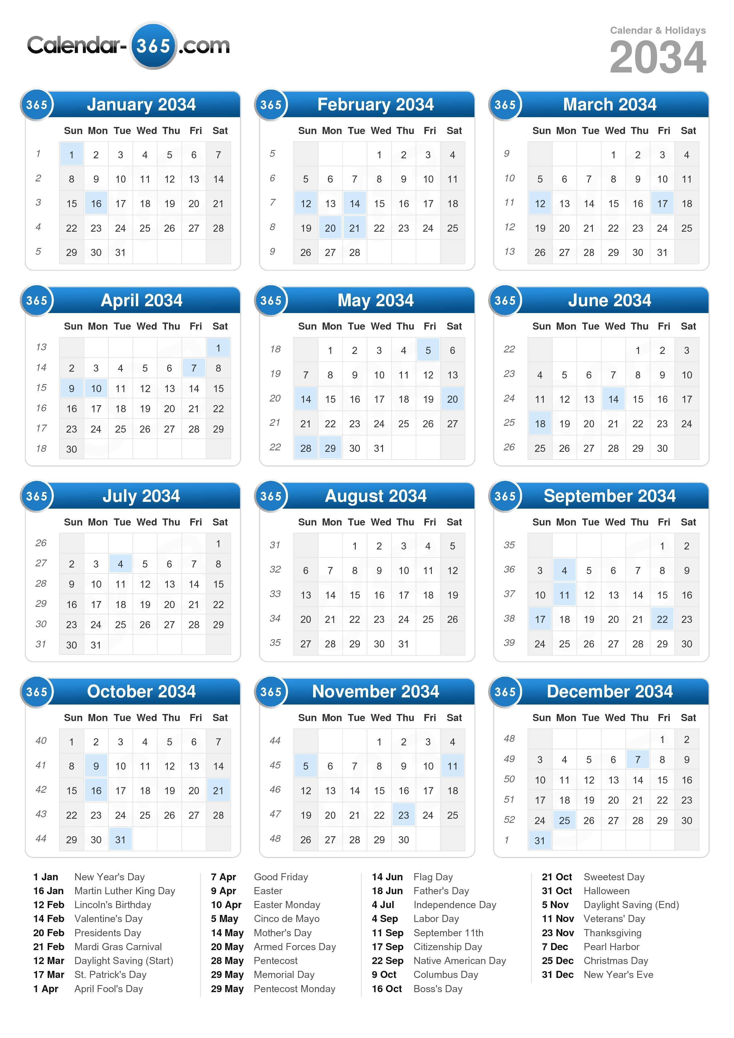 2034 Calendar (portrait format)