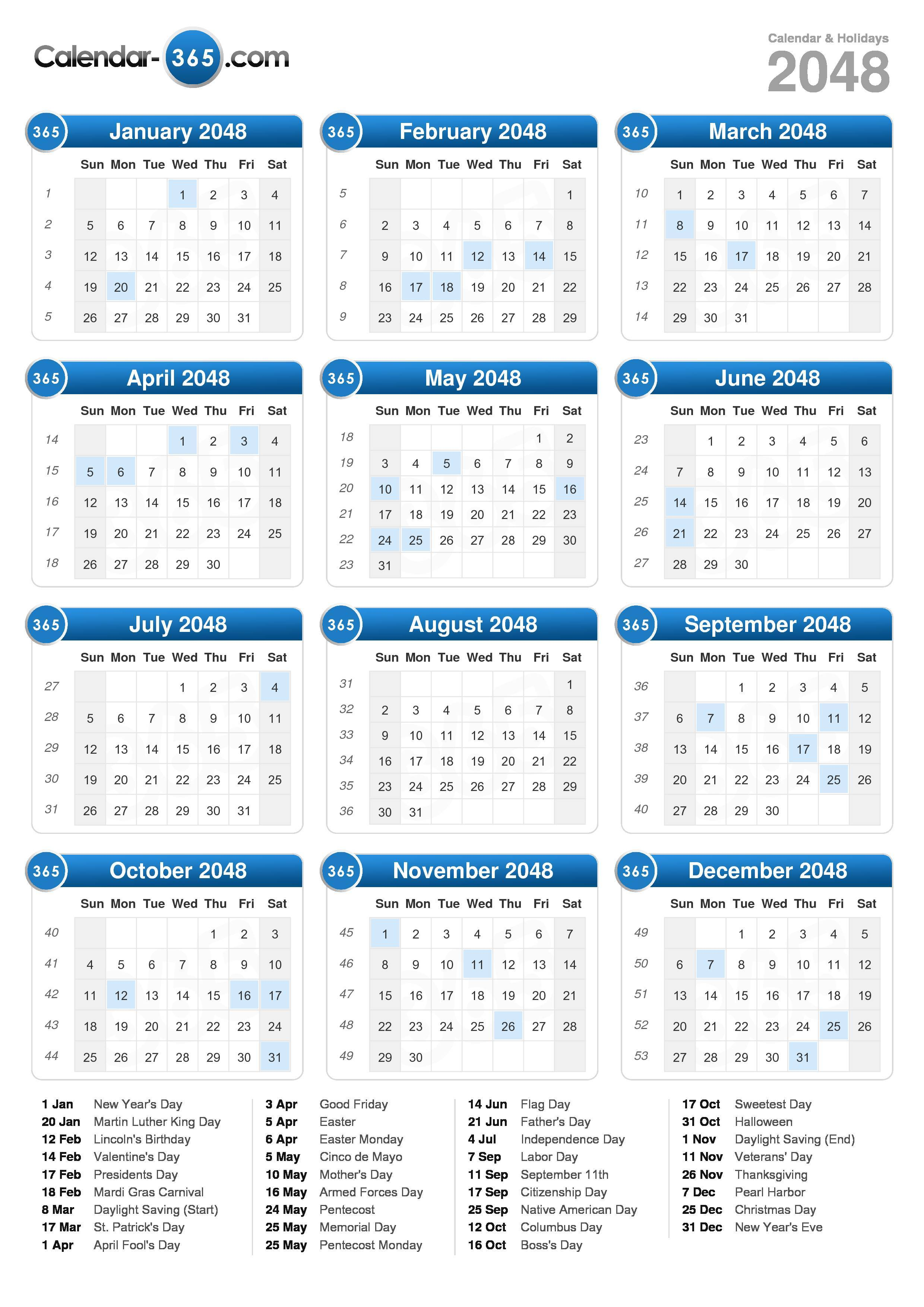 Download the 2048 Calendar with holidays . (Portrait format - 1 Page)