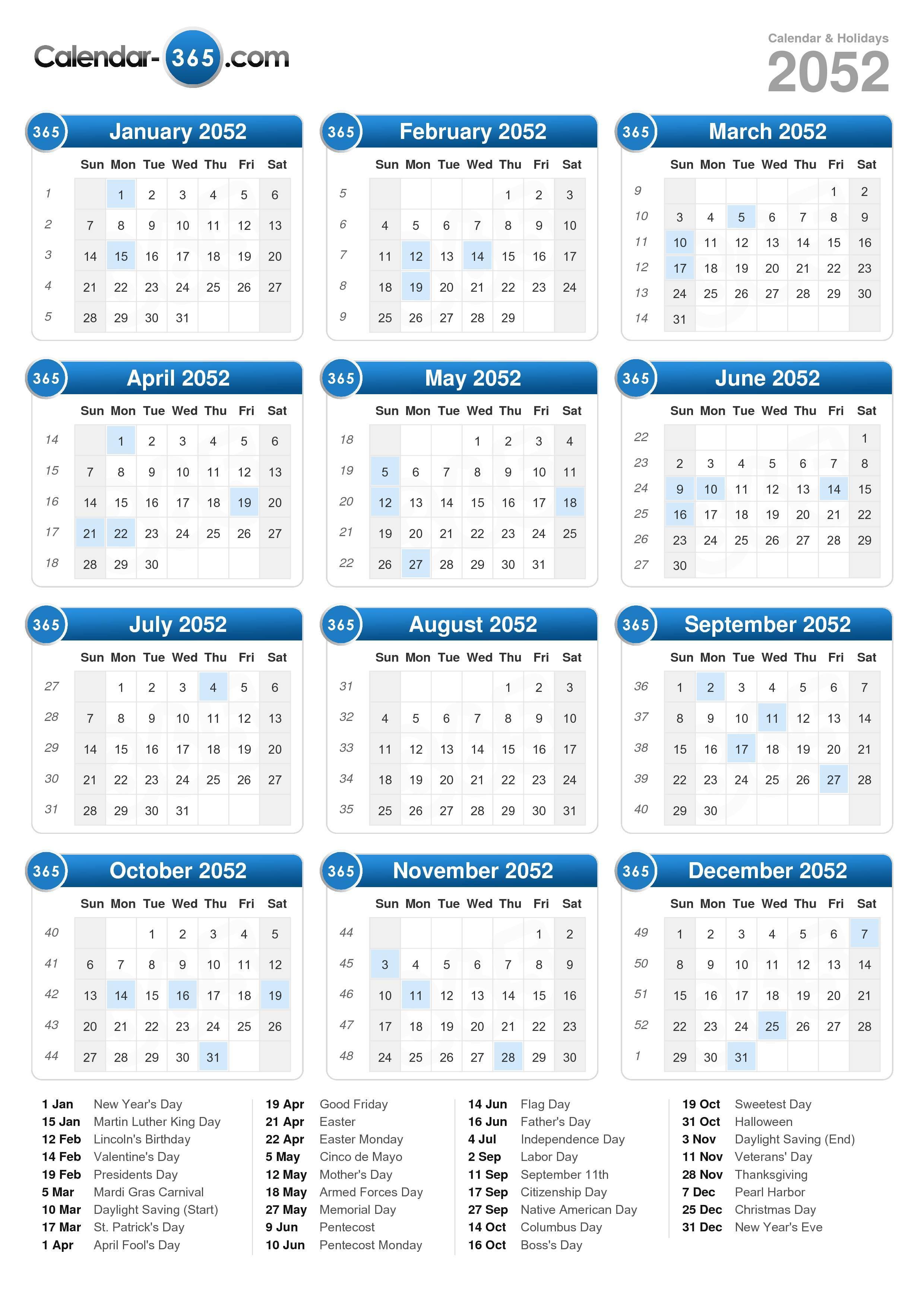 2052 Calendar (portrait format)