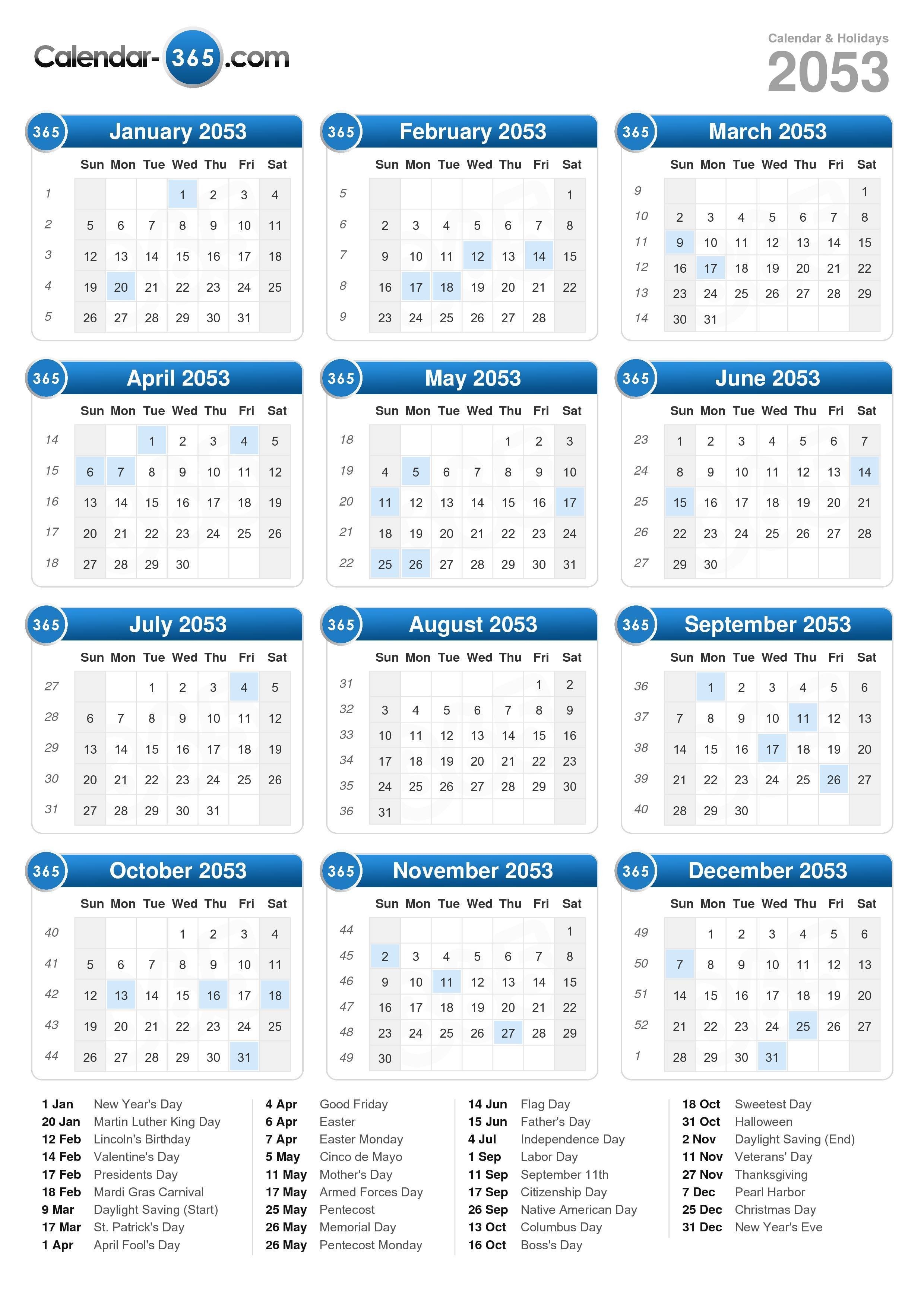 Download the 2053 Calendar with holidays . (Portrait format - 1 Page)