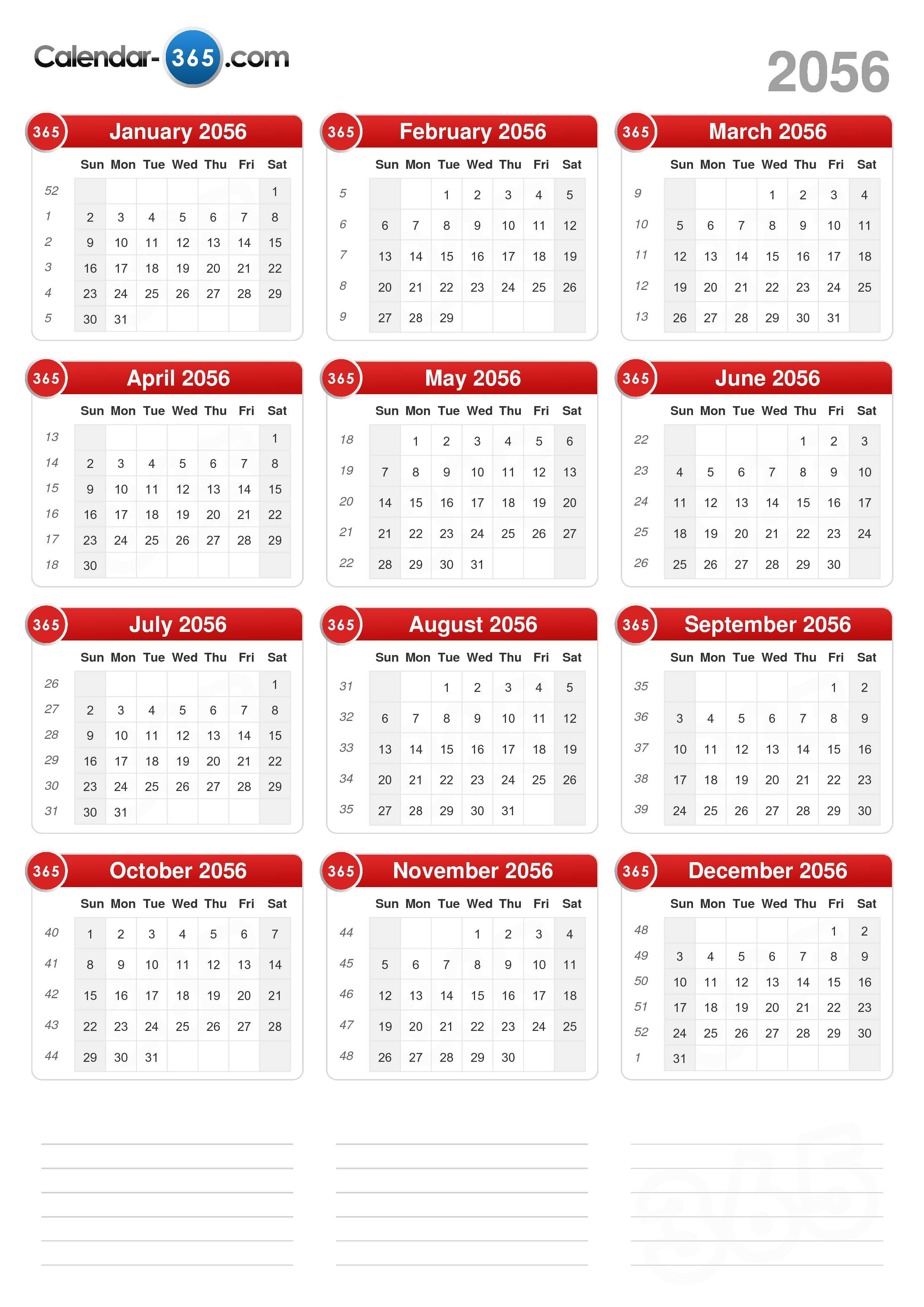 2056 Calendar (portrait format) (v2)
