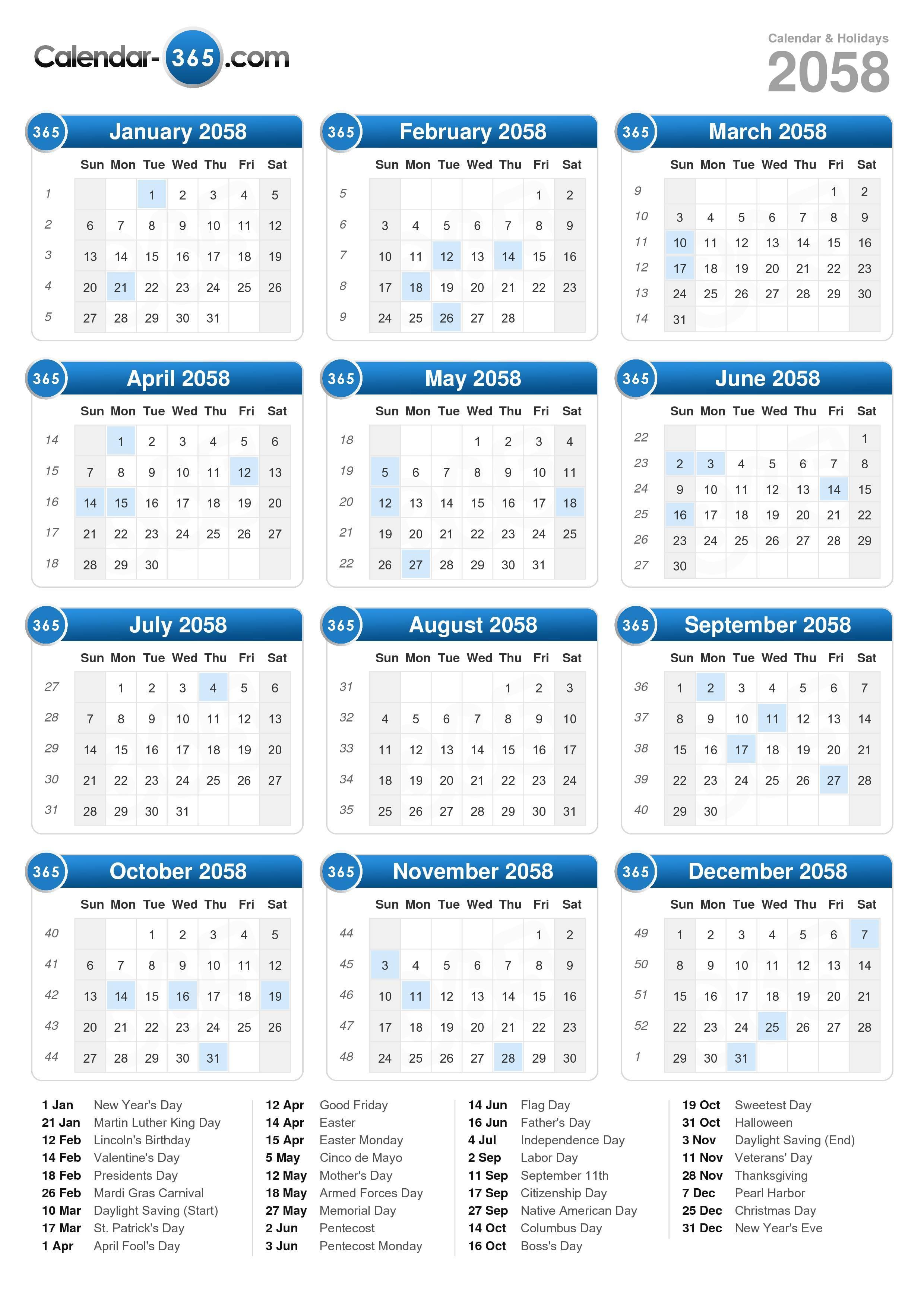 2058 Calendar (portrait format)