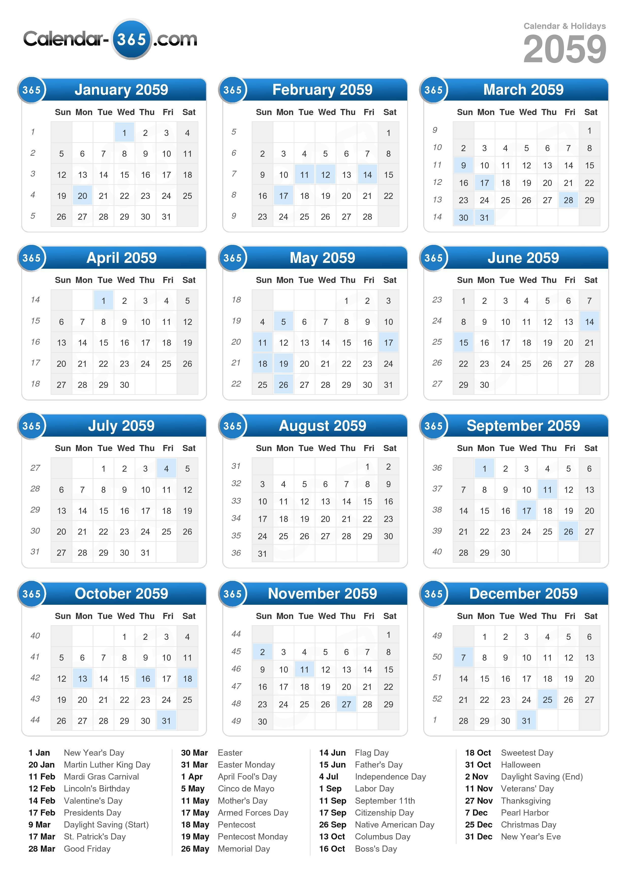 2059 Calendar (portrait format)