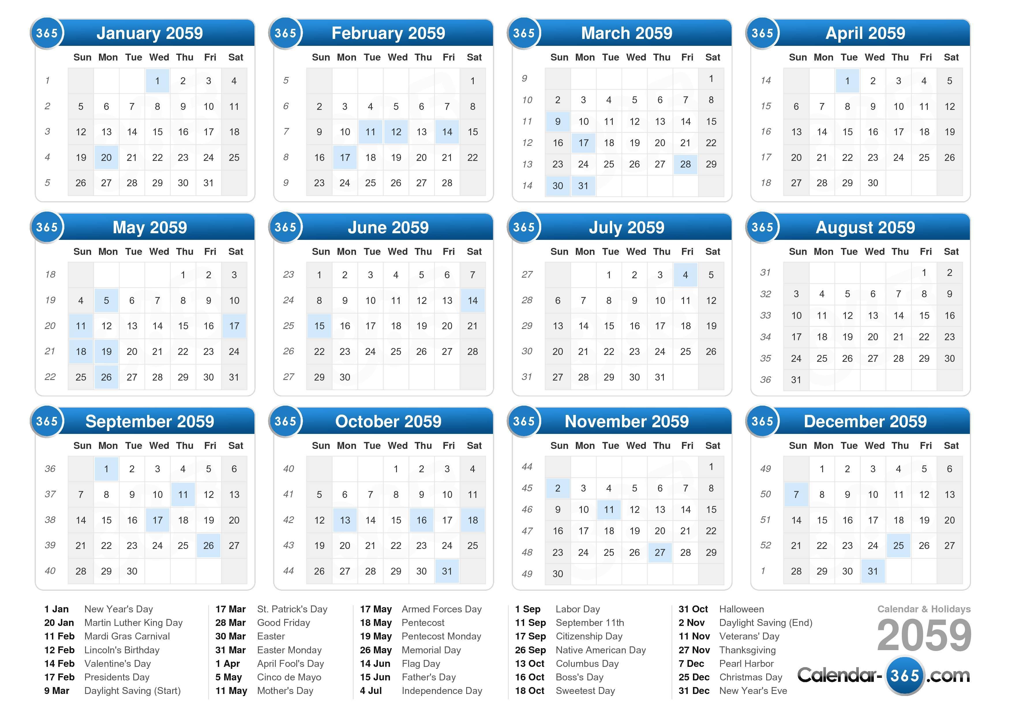 ... calendar with holidays landscape format 1 page 2059 calendar 155 486