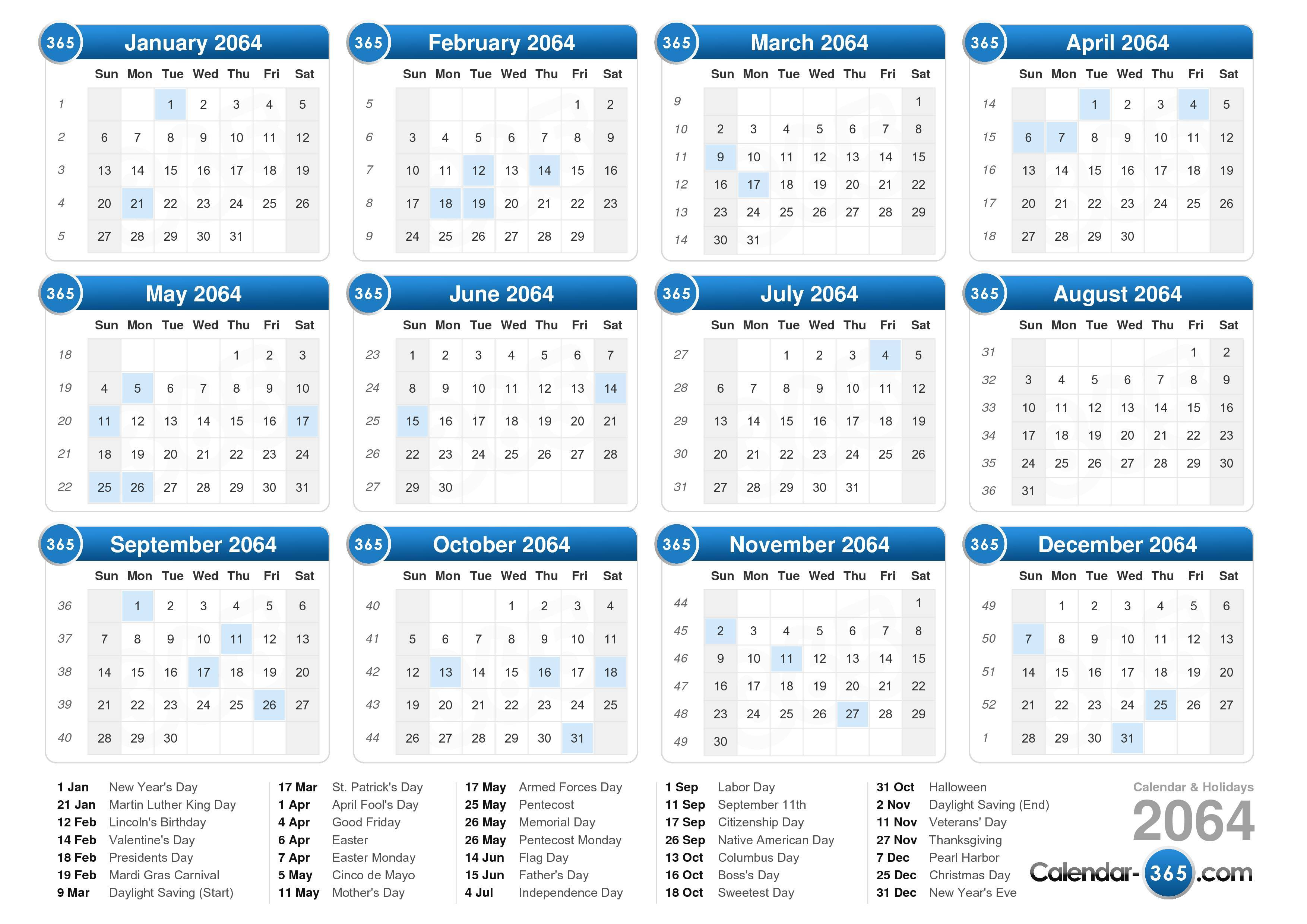 ... calendar with holidays landscape format 1 page 2064 calendar 177 393