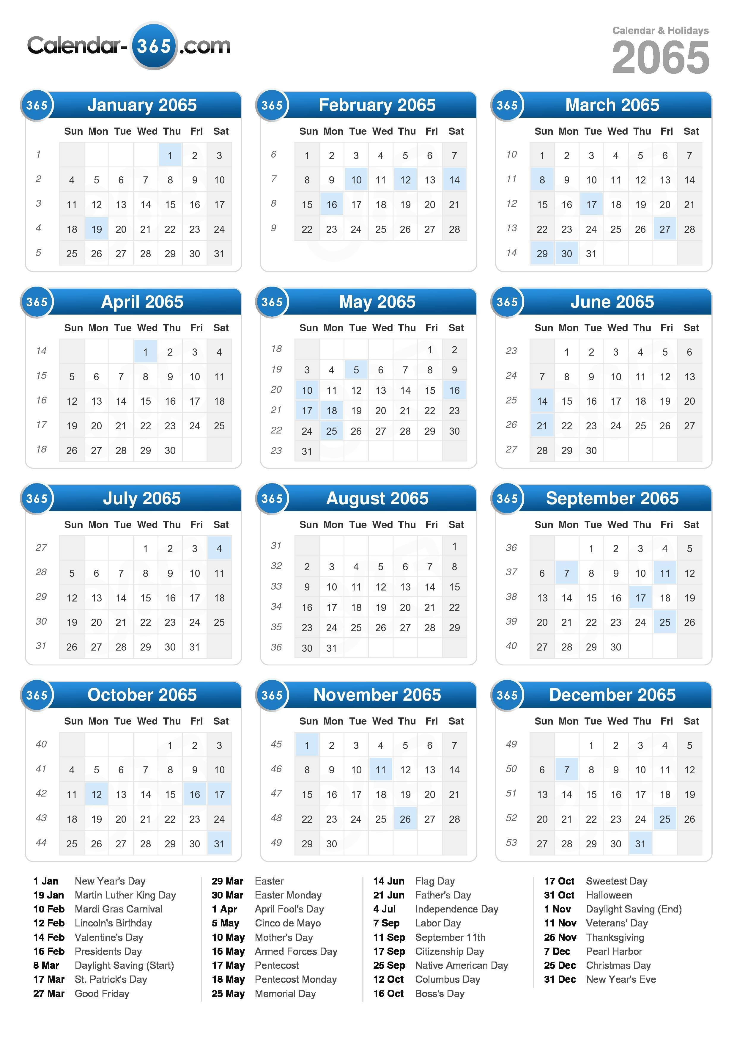 Download the 2065 Calendar with holidays . (Portrait format - 1 Page)