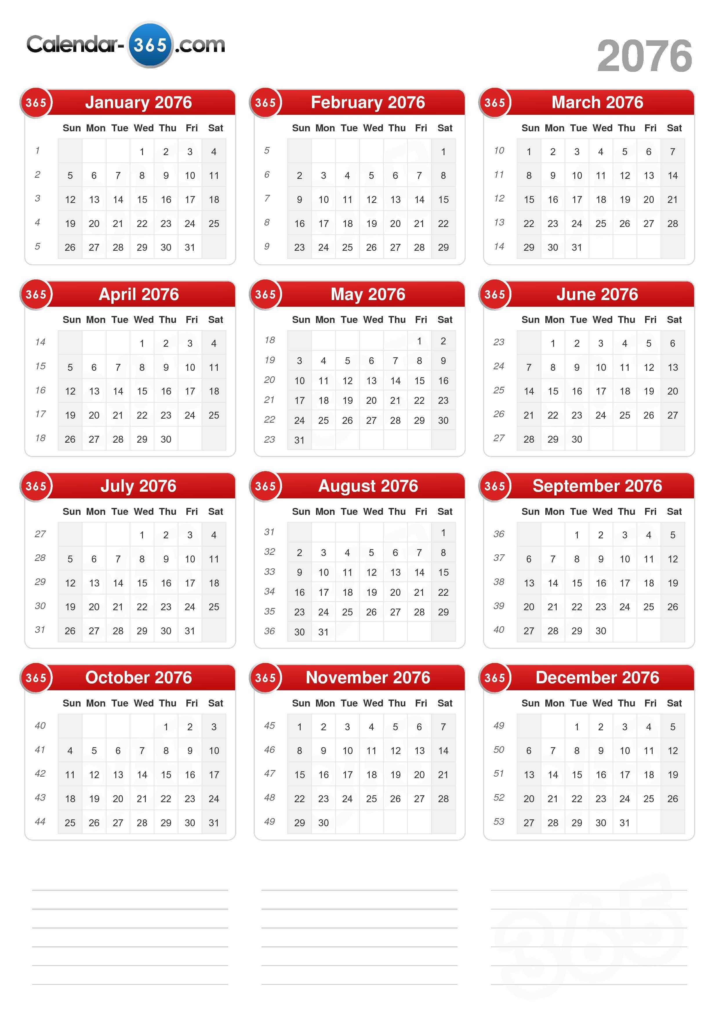 2076 Calendar (portrait format) (v2)