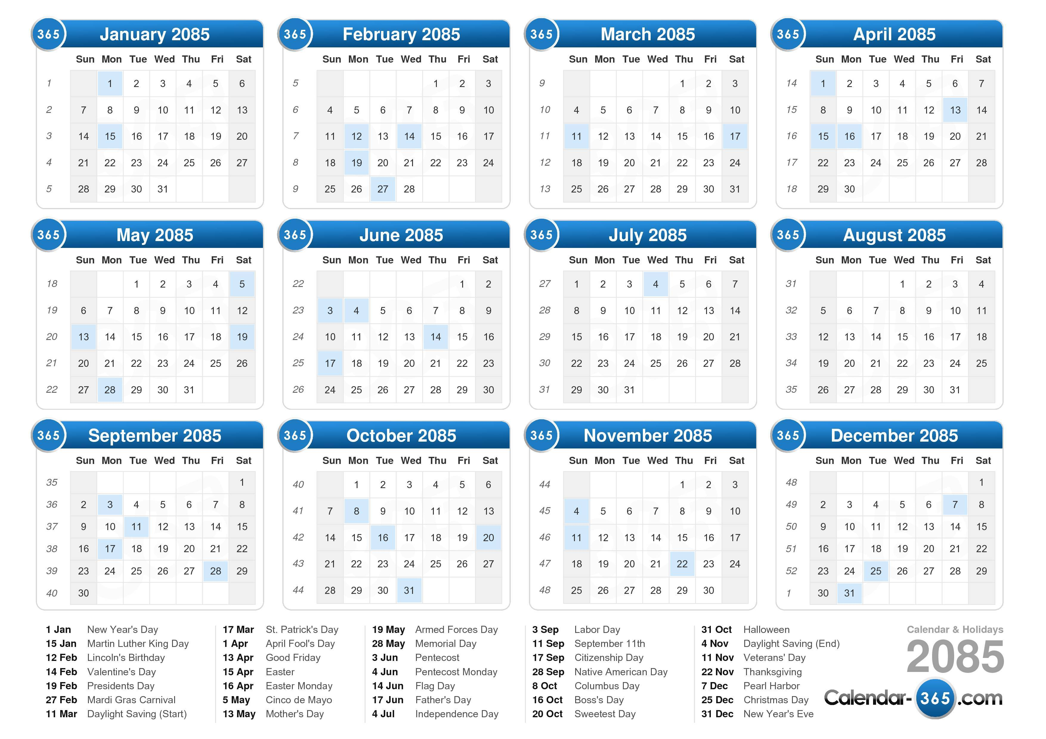 Download the printable 2085 calendar with holidays.