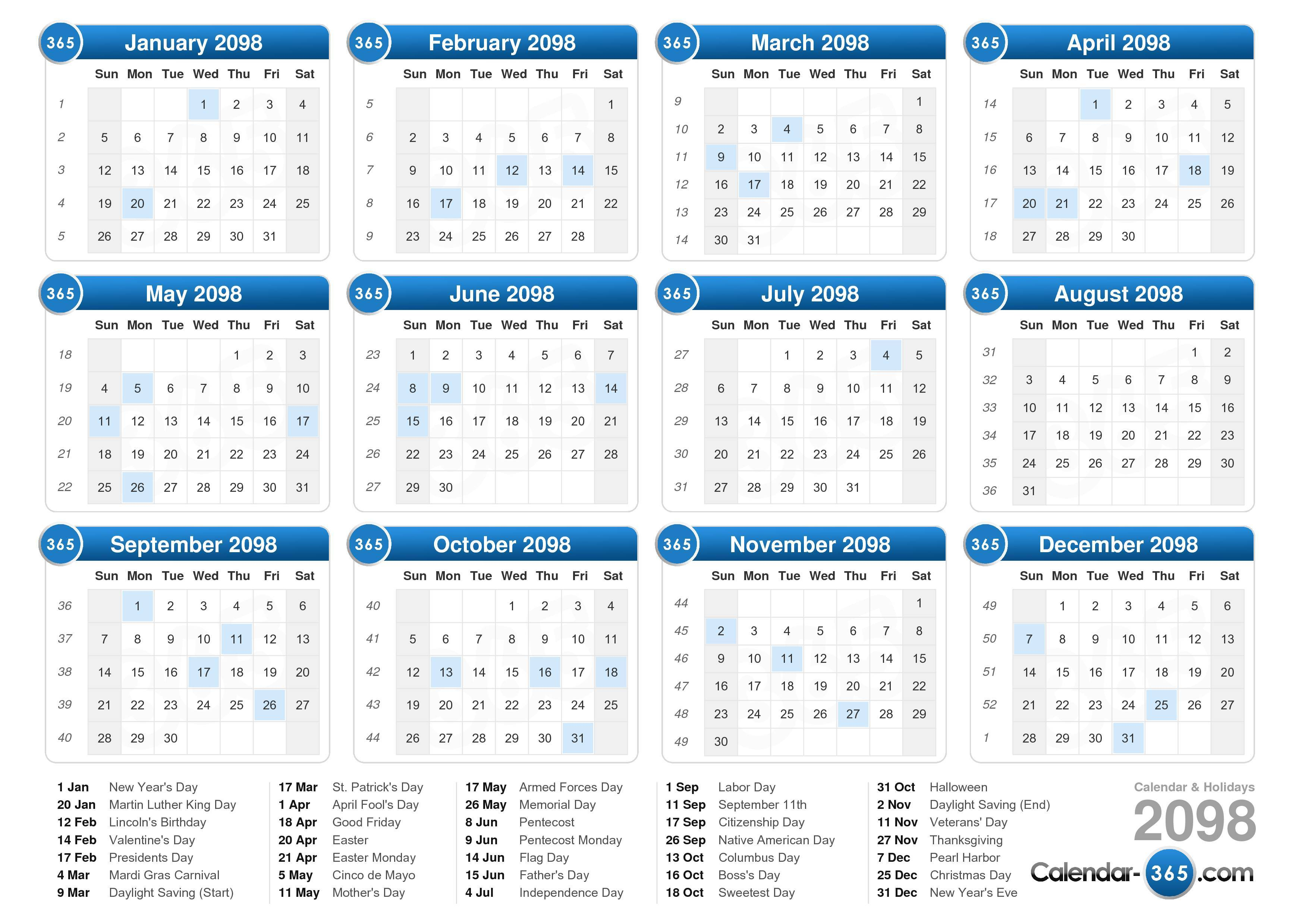 Download the printable 2098 Calendar with Holidays