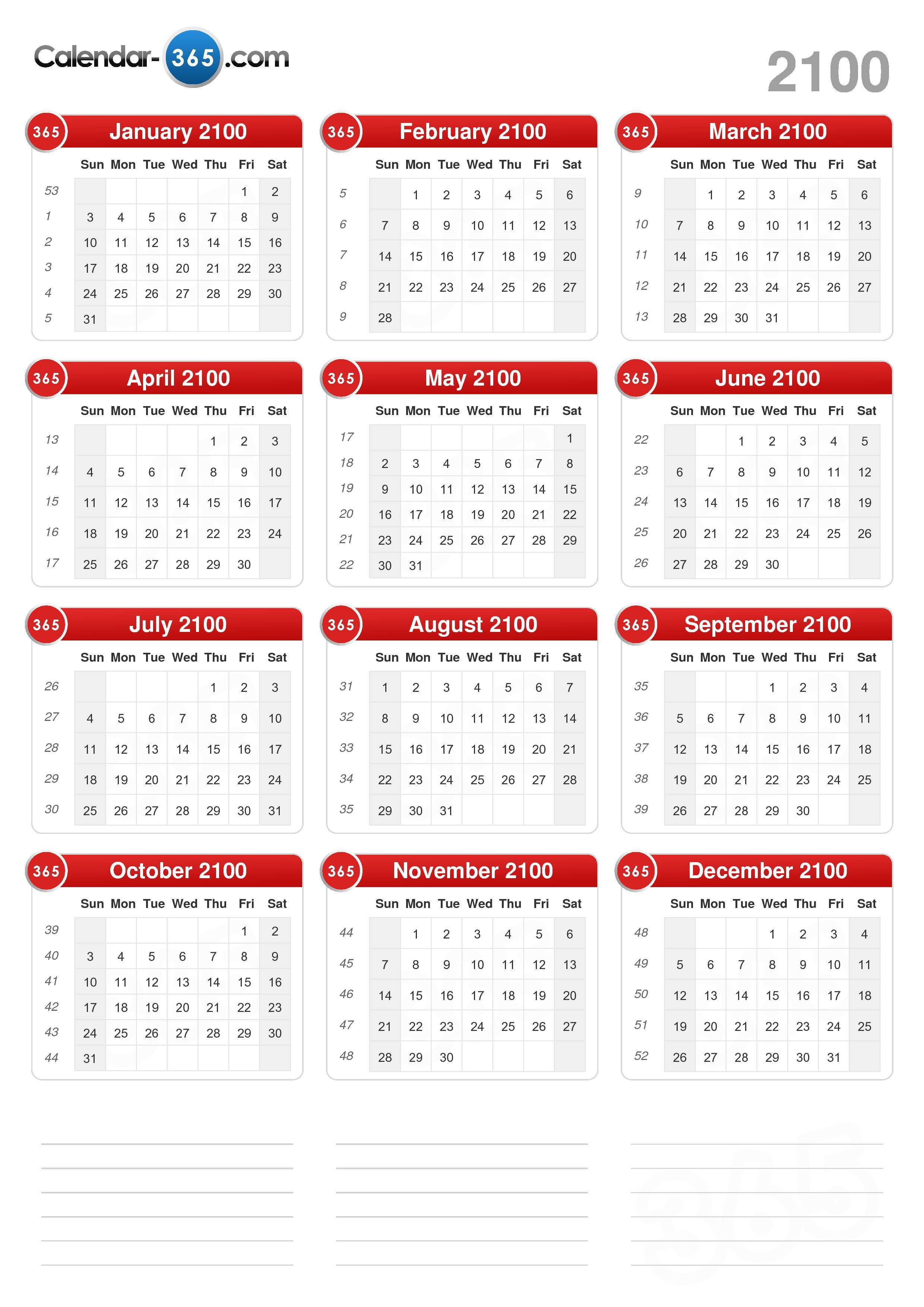 Download the 2100 Calendar without holidays . (Portrait format - 1 ...